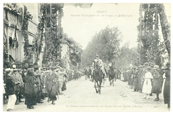 Contenu du Fêtes de la victoire à Nancy : la rentrée triomphale du 20e Corps.