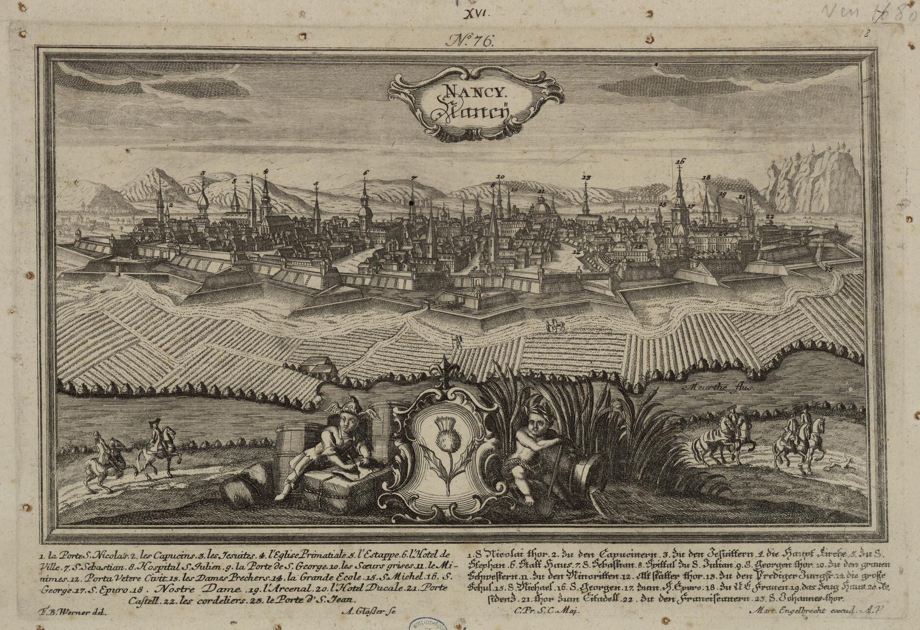 Contenu du Nancy. Gravure allemande du XVIIIe siècle