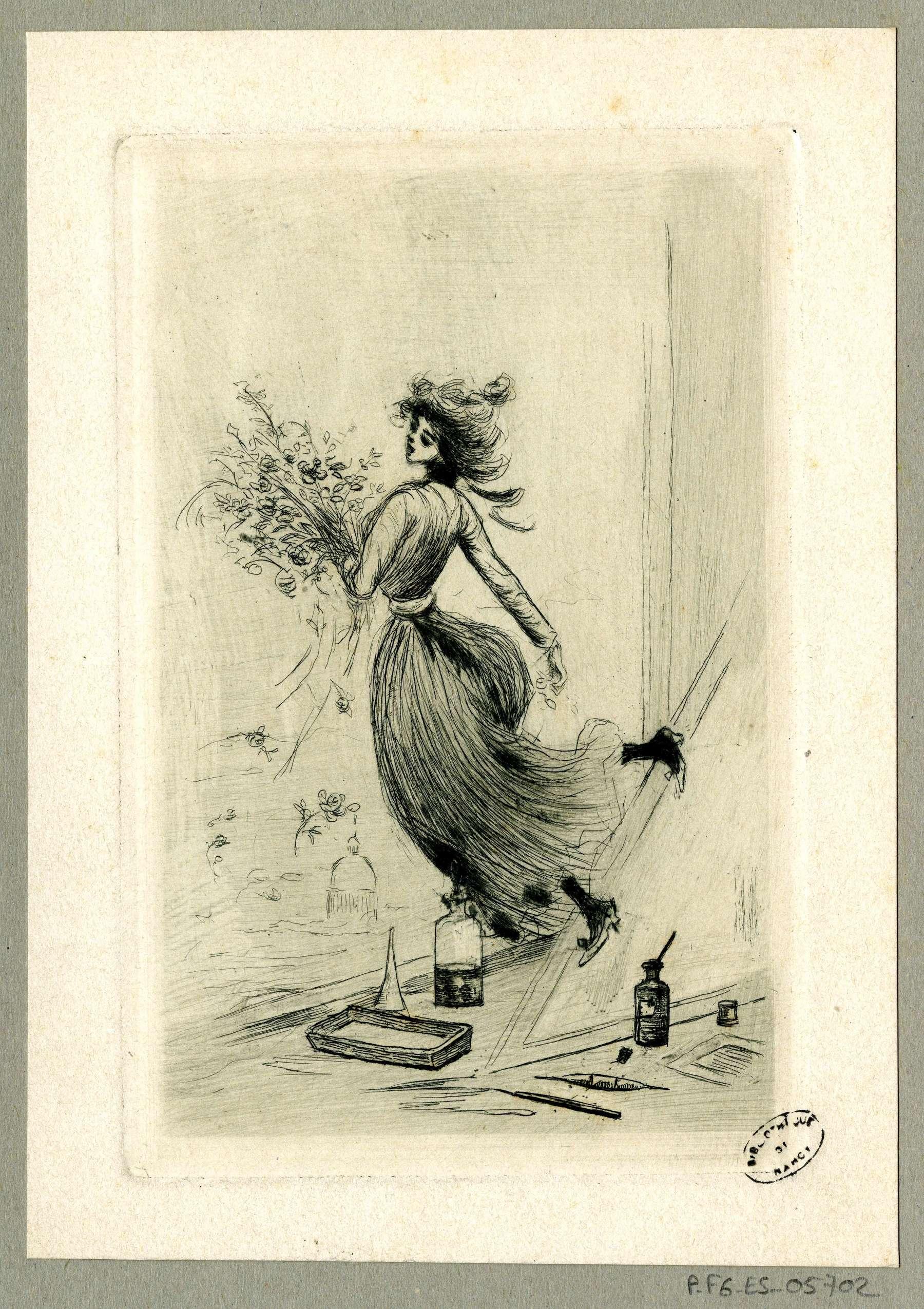 Contenu du Femme tenant un bouquet