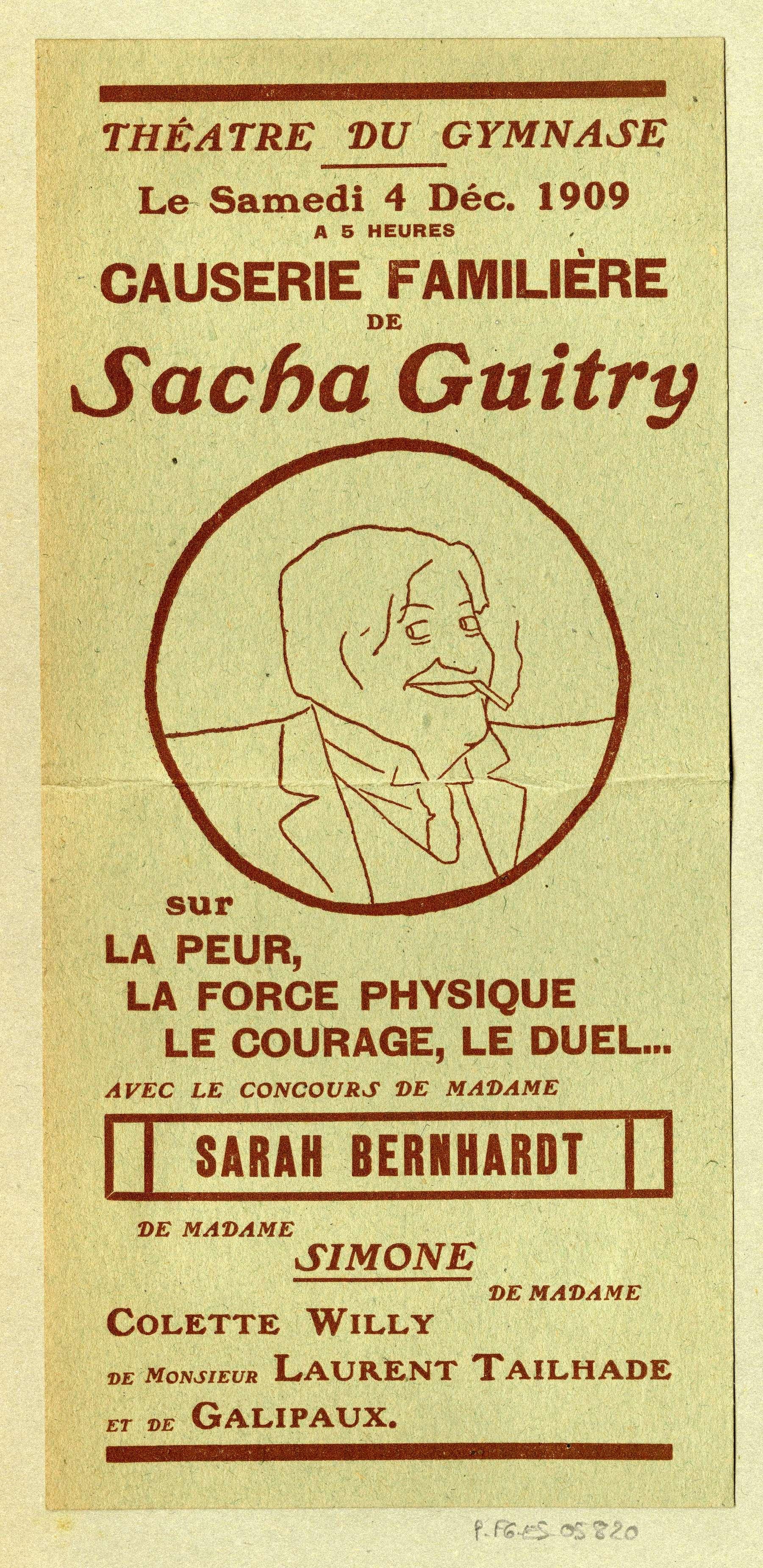Contenu du Causerie familière de Sacha Guitry