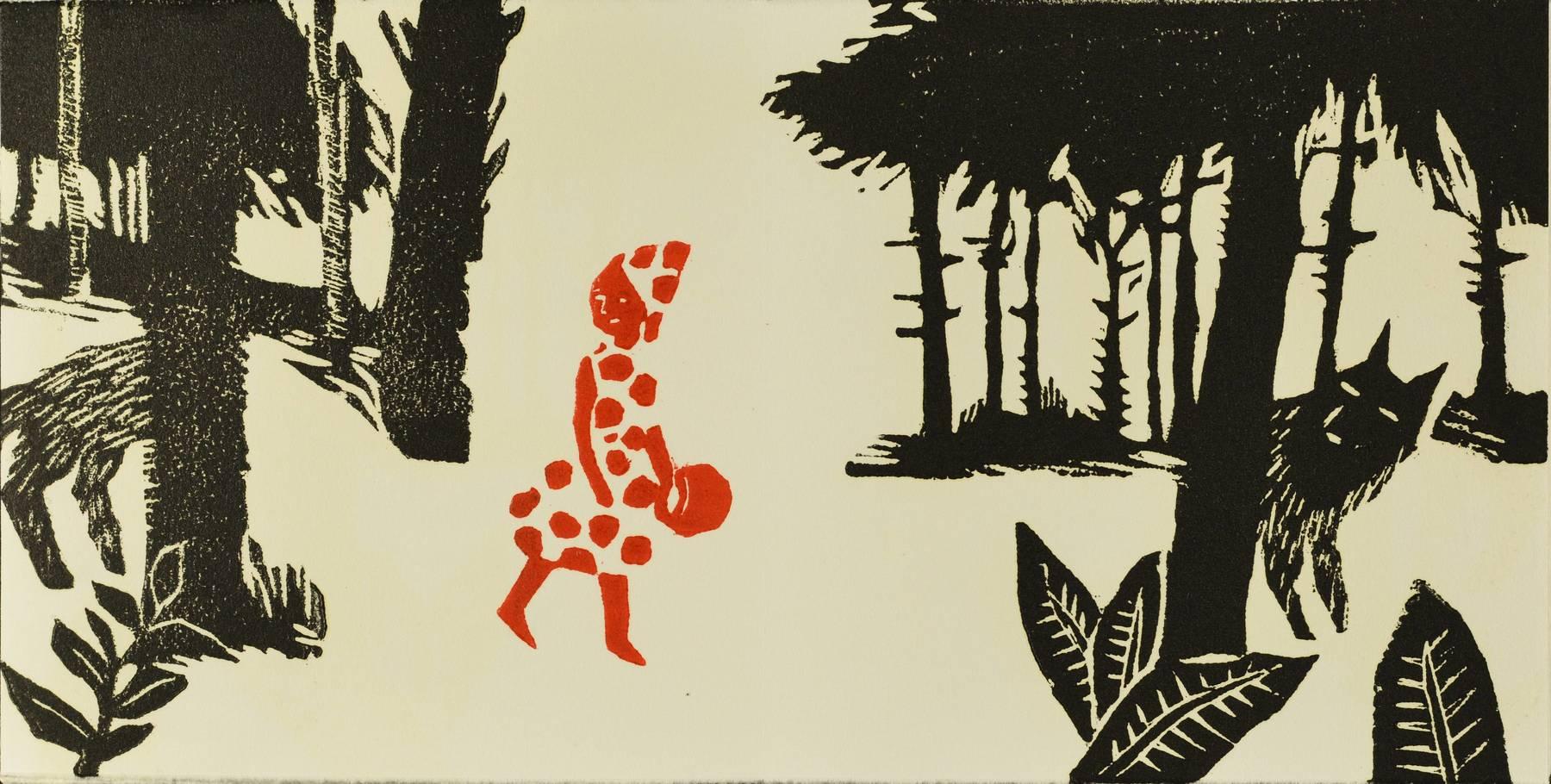 Contenu du Livre d'artiste - Le Petit Chaperon rouge rencontre compère  le loup