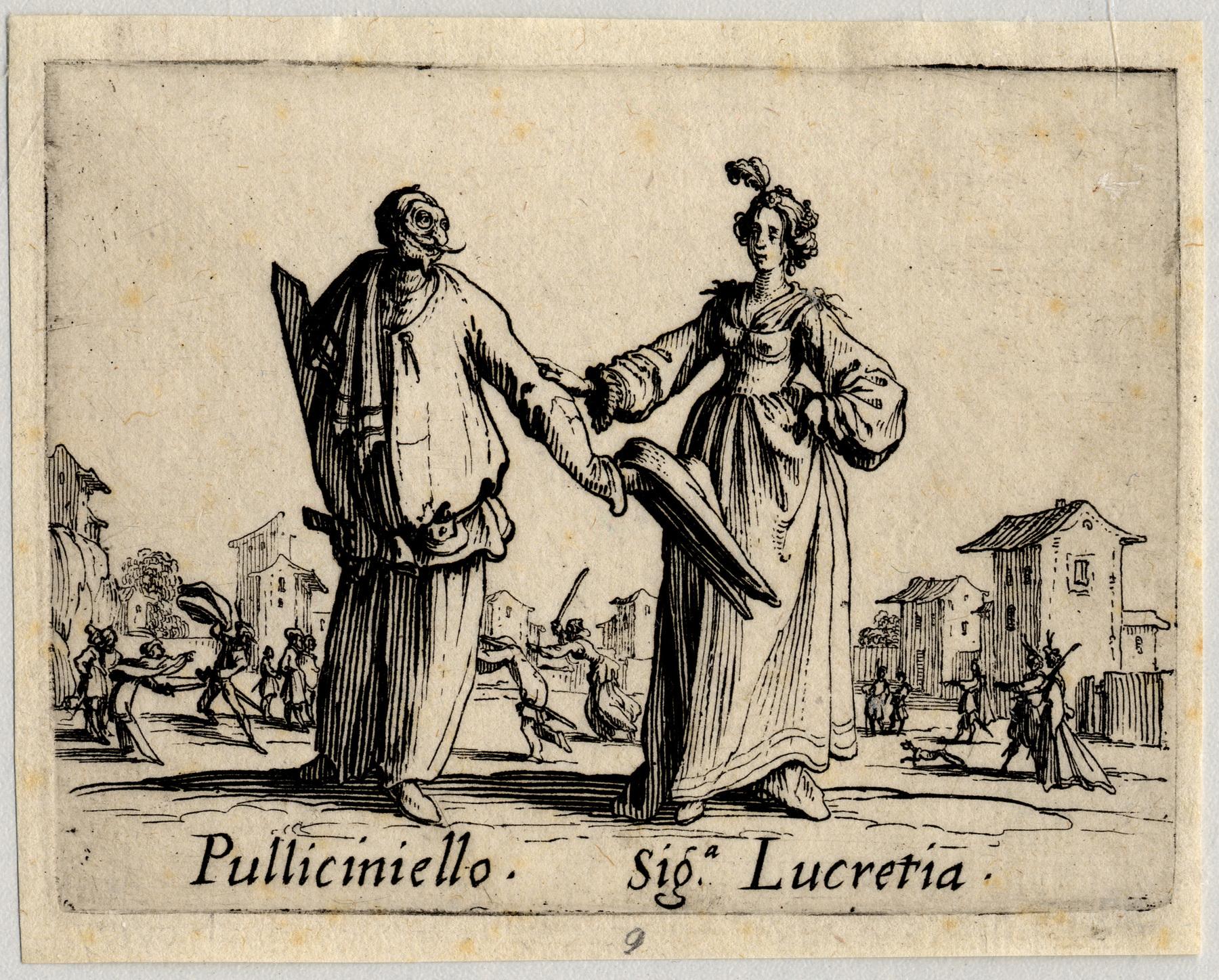 Contenu du Balli di Sfessania : Pulliciniello, signora Lucretia