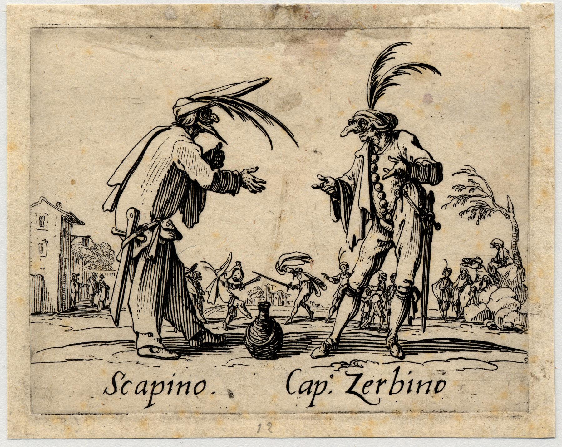 Contenu du Balli di Sfessania : Scapino, Capitaine Zerbino