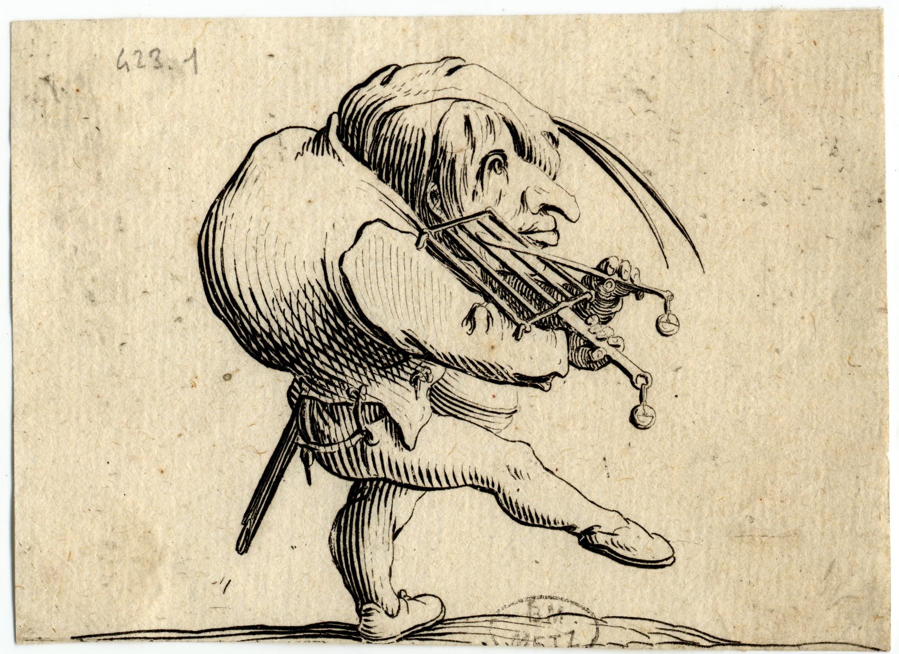Contenu du Les Gobbi: L'homme raclant un gril en guise de violon