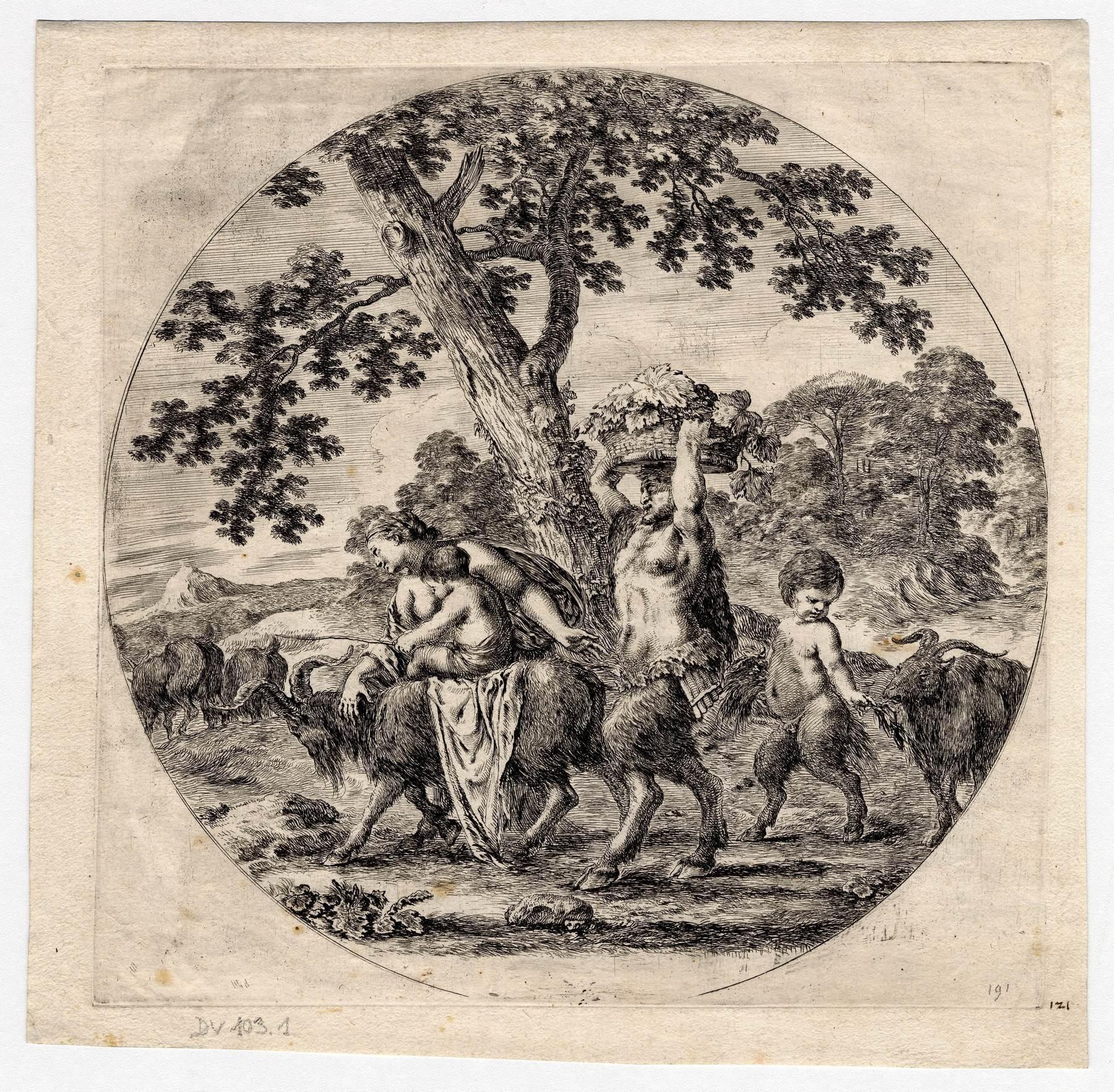 Contenu du La famille du satyre en marche, premier état avant la lettre