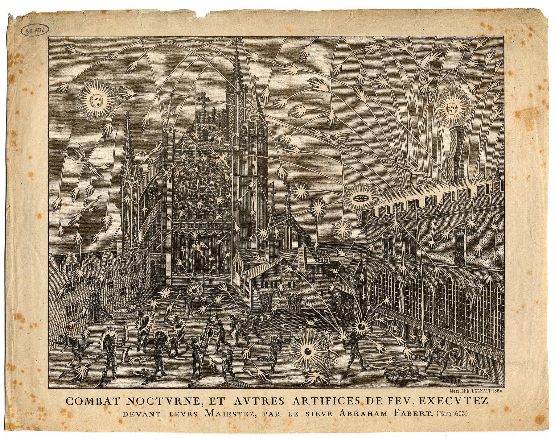 Contenu du Combat nocturne et autres artifices de feu, executez deavant leurs Maiestez par le sieur Abraham Fabert