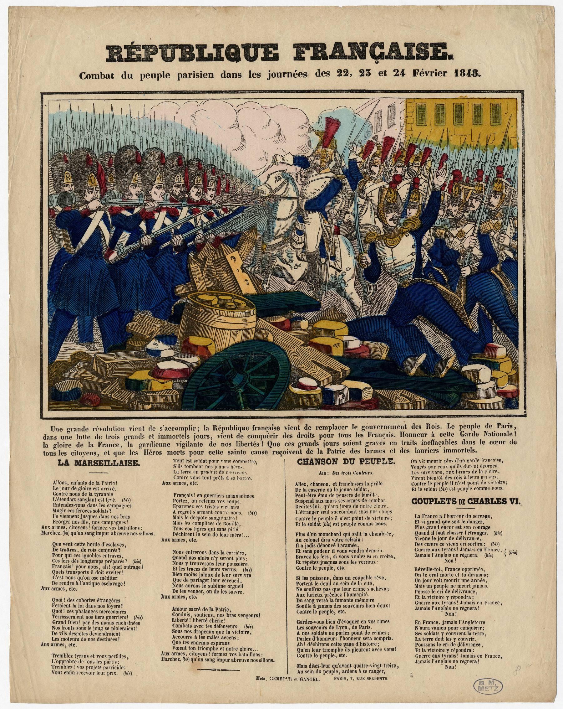 Contenu du République française : combat du peuple parisien dans les journées des 22-23 et 24 février 1848
