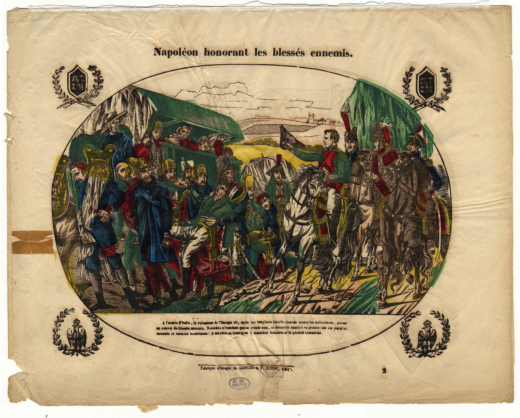 Contenu du Napoléon honorant les blessés ennemis