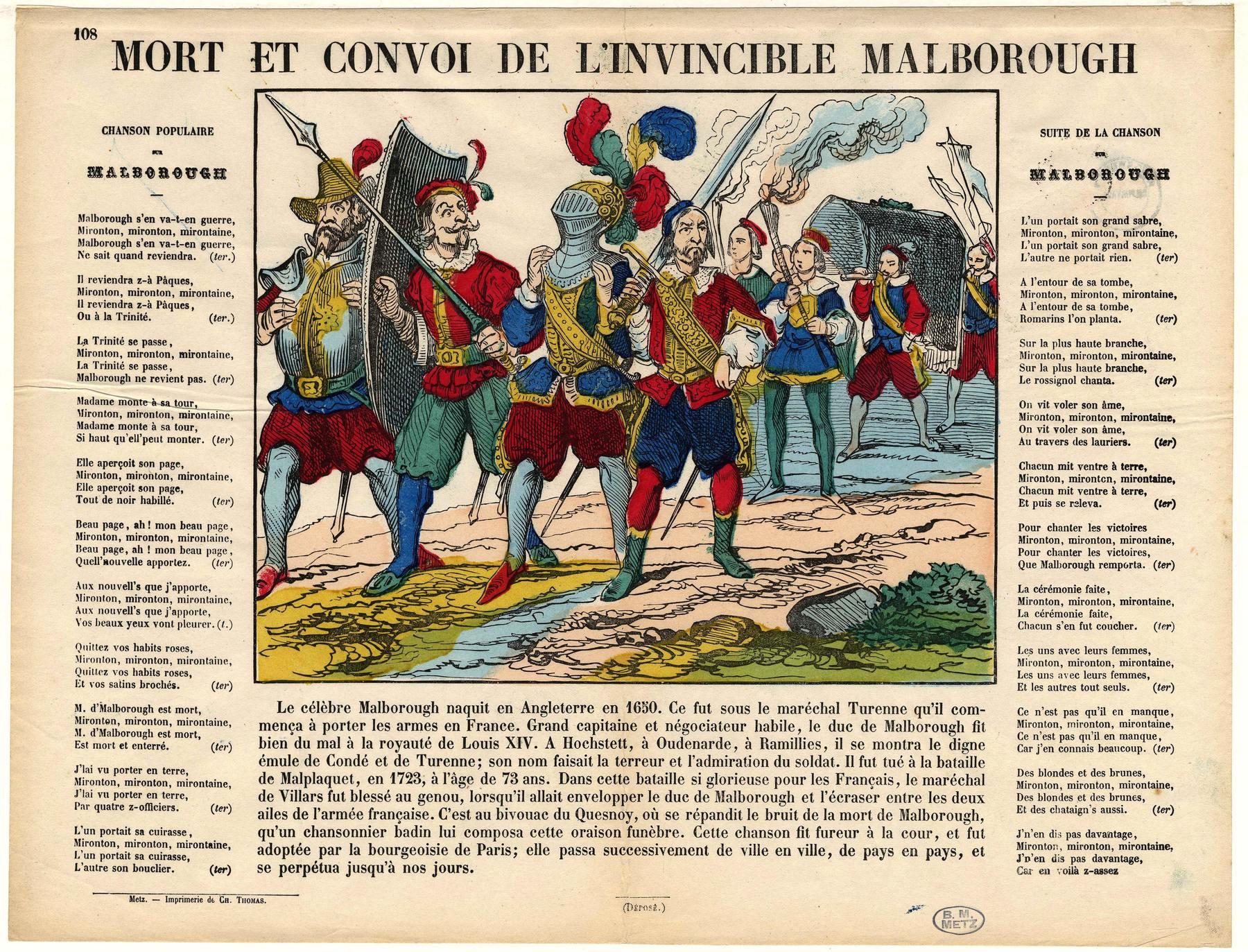 Contenu du Mort et convoi de l'invincible Malborough