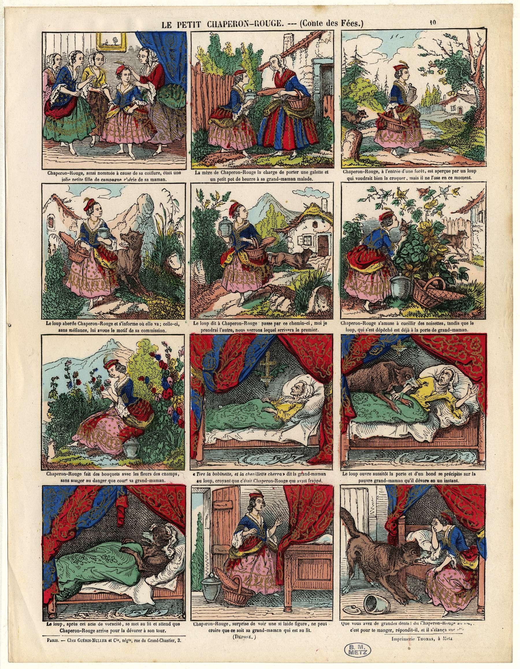 Contenu du Imagerie populaire - Le Petit Chaperon rouge : conte des fées