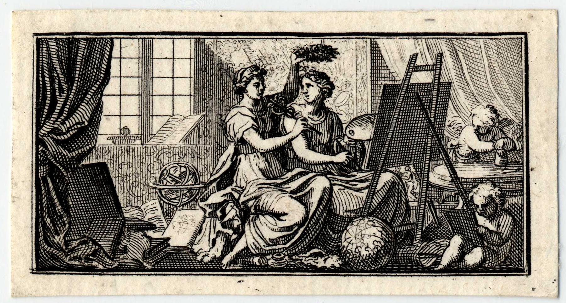 Contenu du La Promenade de Saint-Germain: La Poésie couronne de lauriers la Peinture