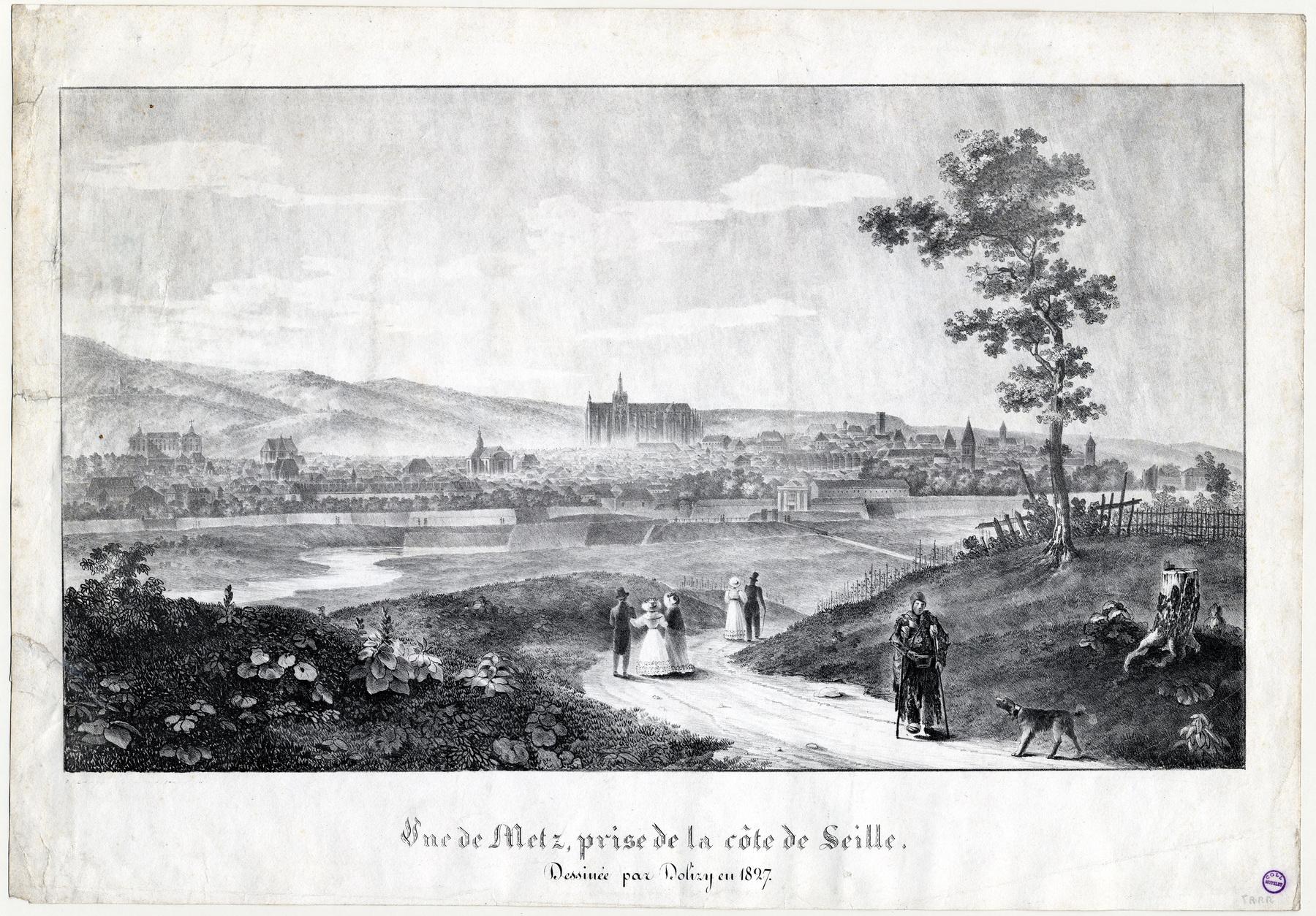 Contenu du Vue de Metz, prise de la côte de Seille