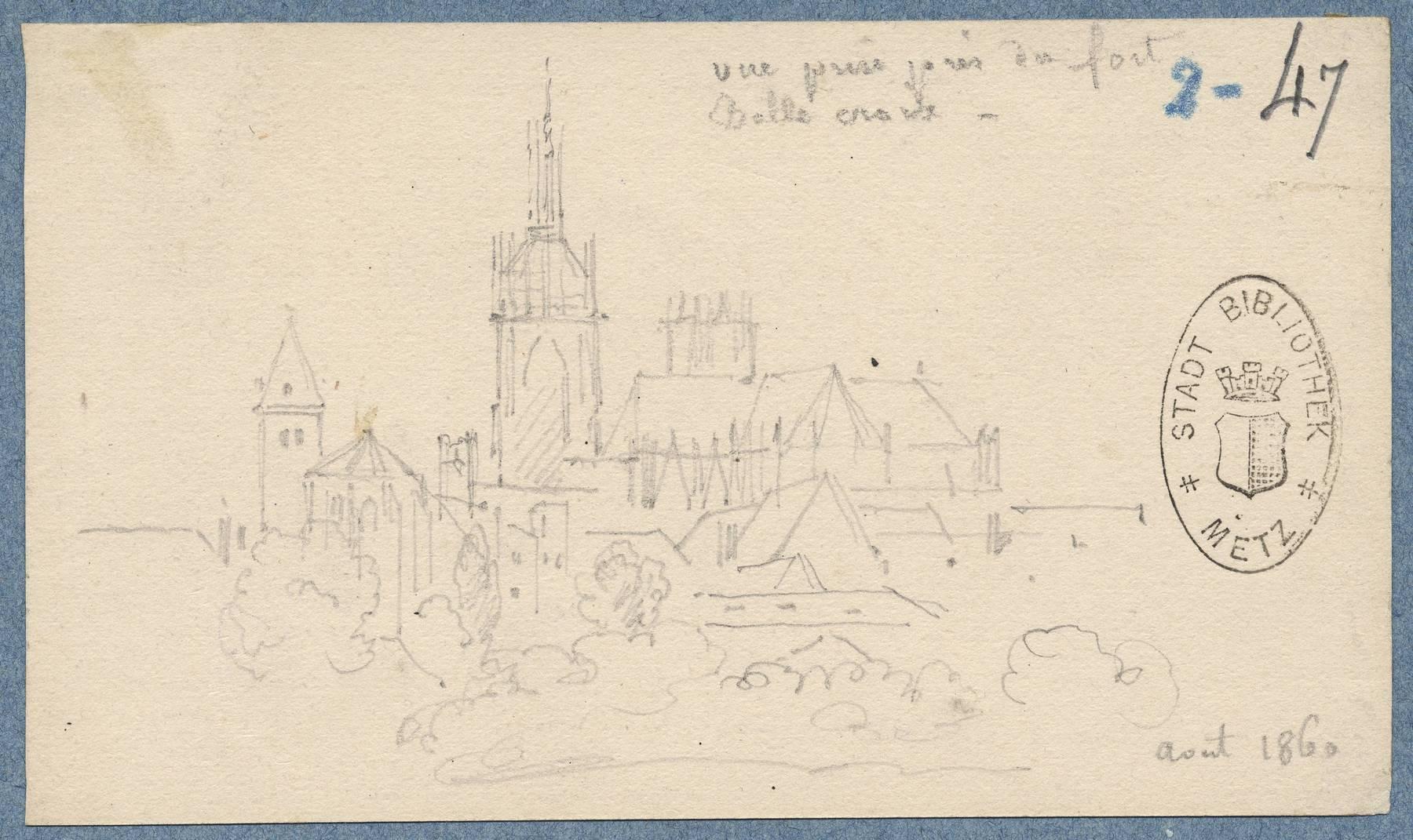 Contenu du Vue [du centre de Metz ] prise près du fort Bellecroix