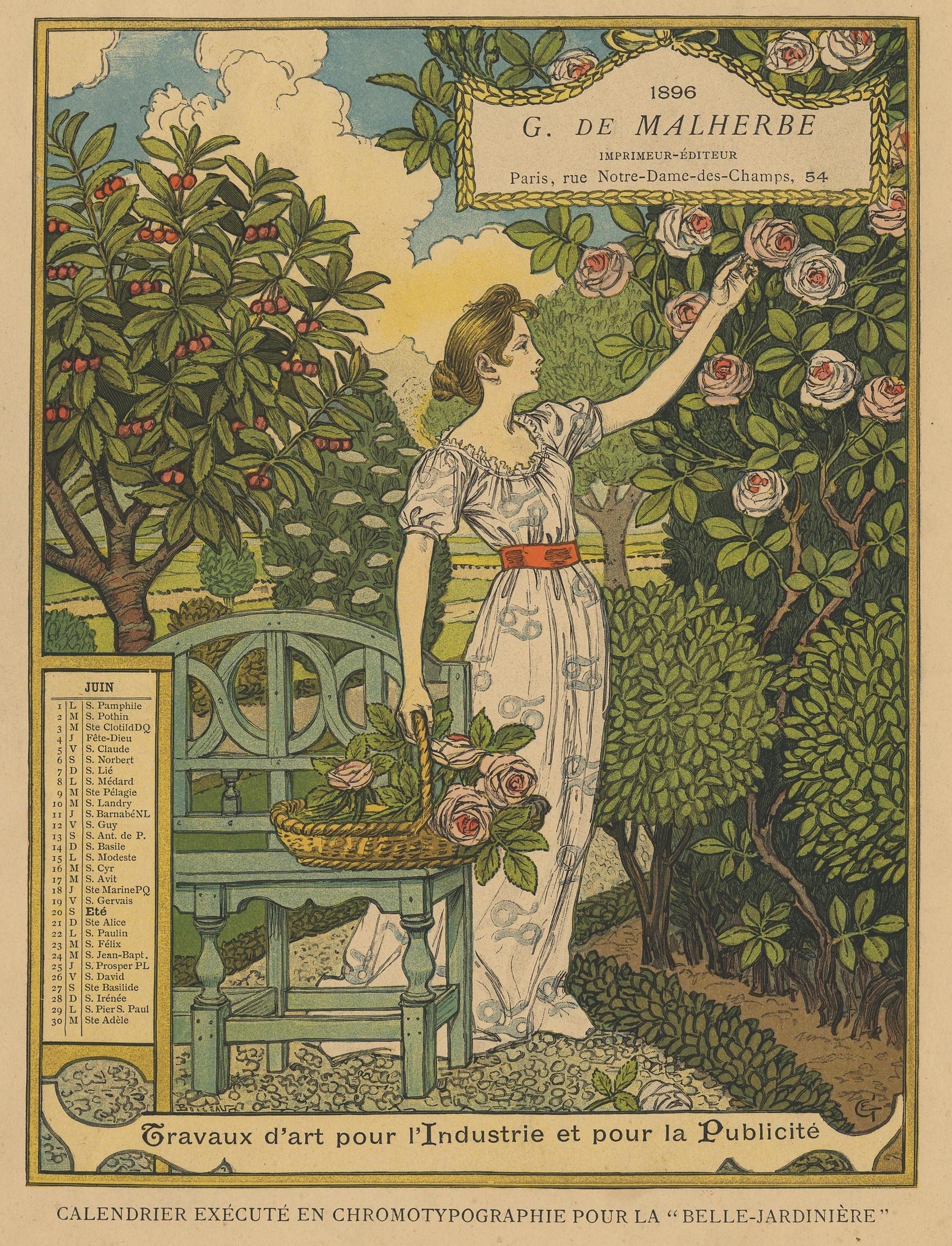 Contenu du Calendrier de 1896 de La Belle Jardinière. Les Mois: Juin