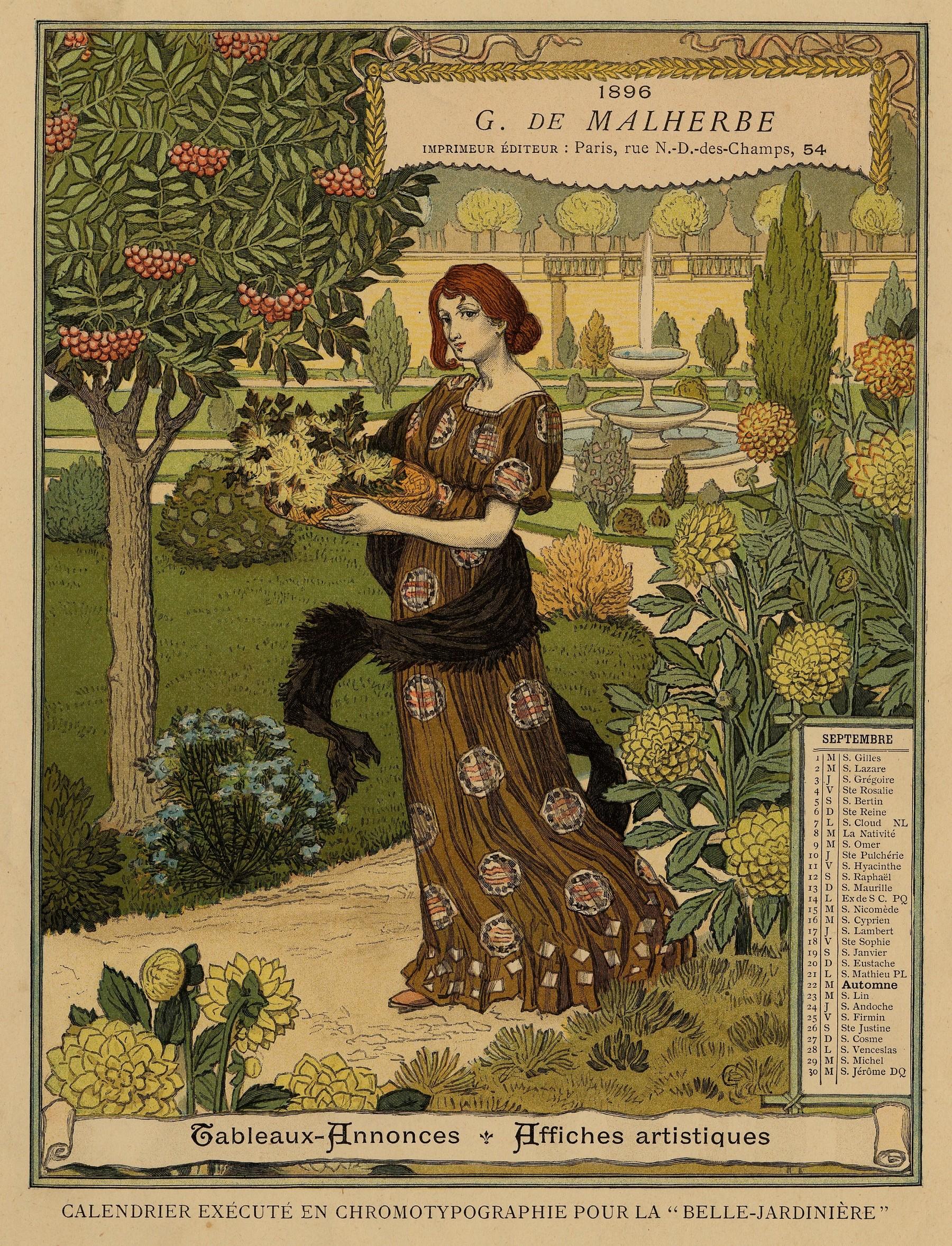 Contenu du Calendrier de 1896 de La Belle Jardinière. Les Mois: Septembre