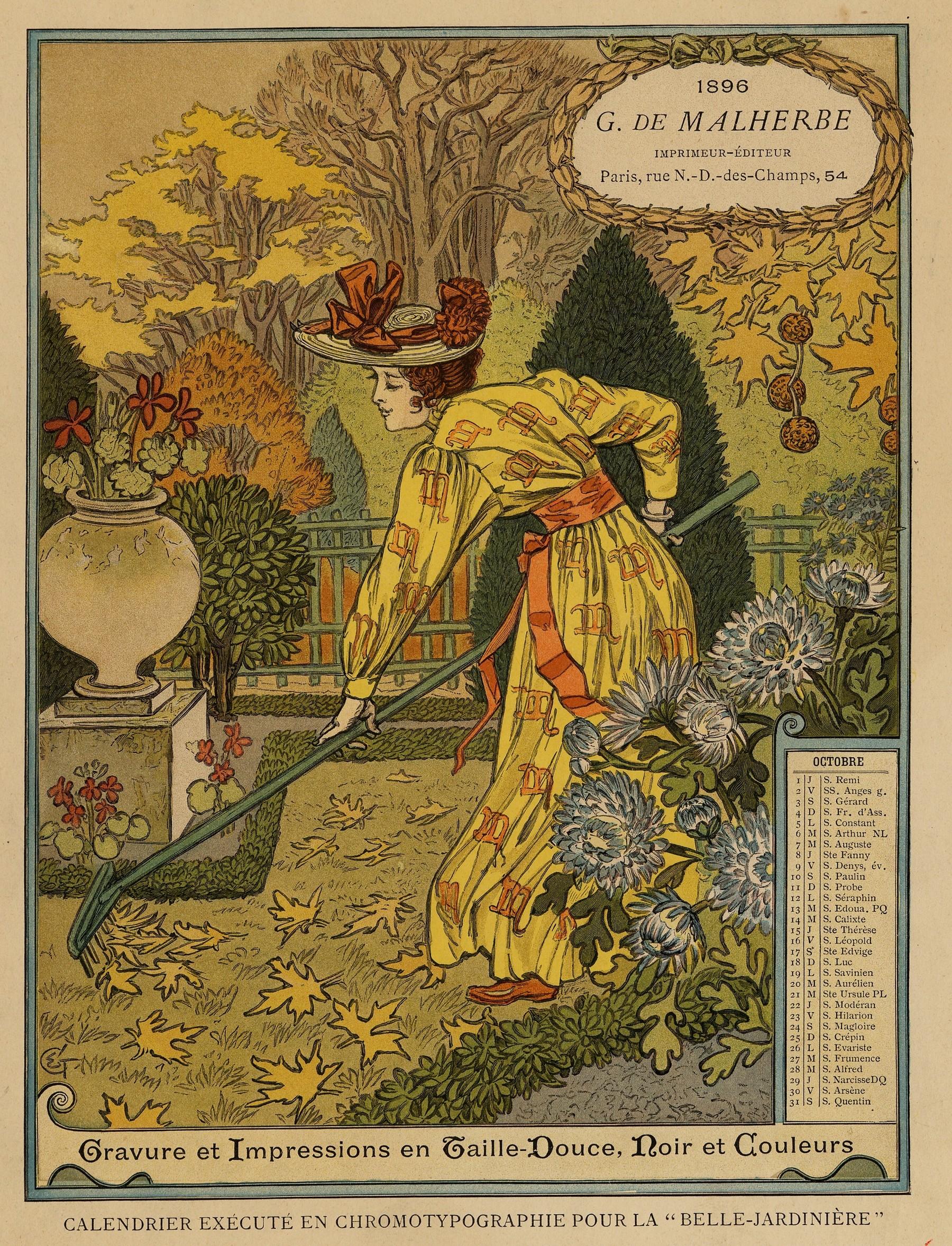 Contenu du Calendrier de 1896 de La Belle Jardinière. Les Mois: Octobre