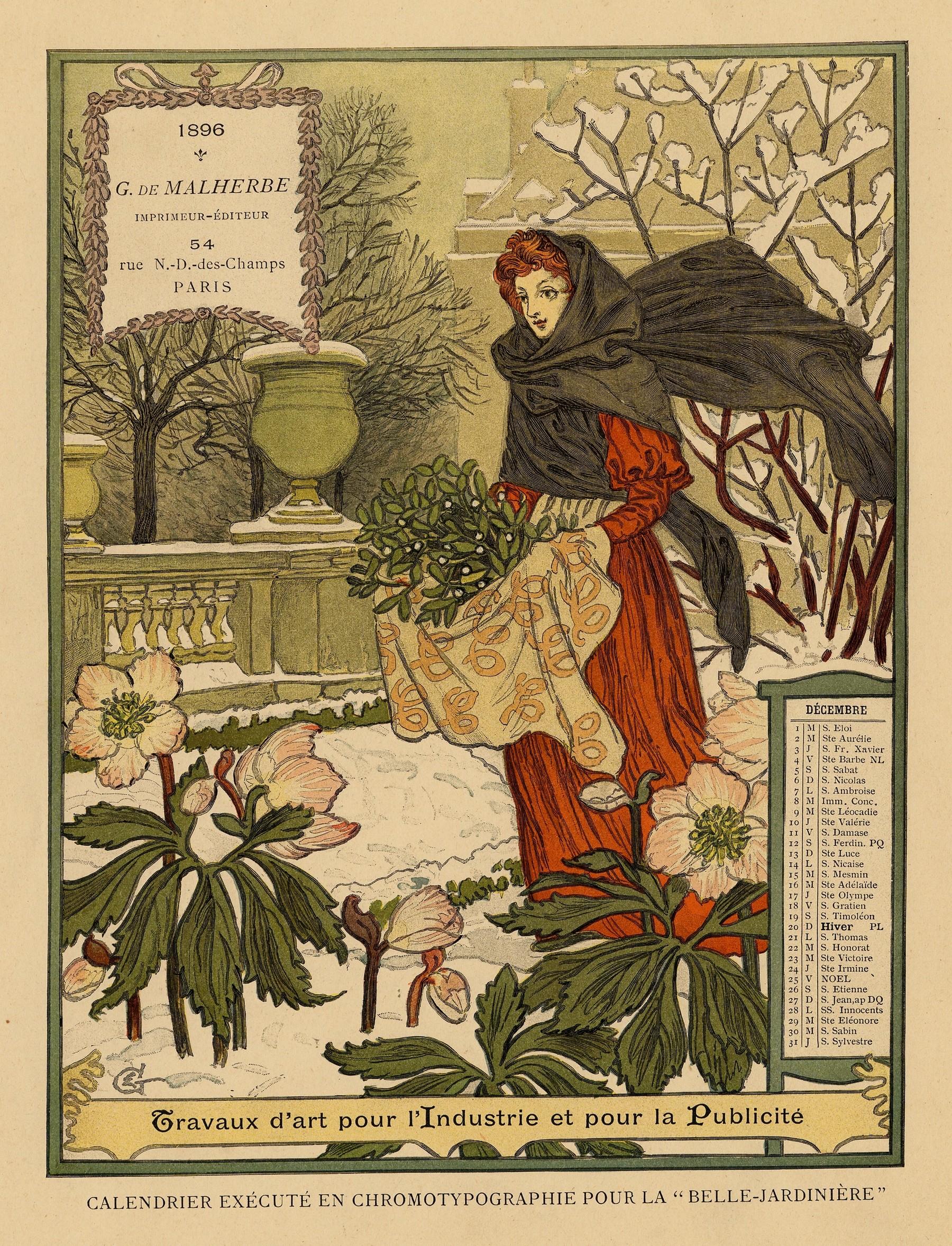 Contenu du Calendrier de 1896 de La Belle Jardinière. Les Mois: Décembre