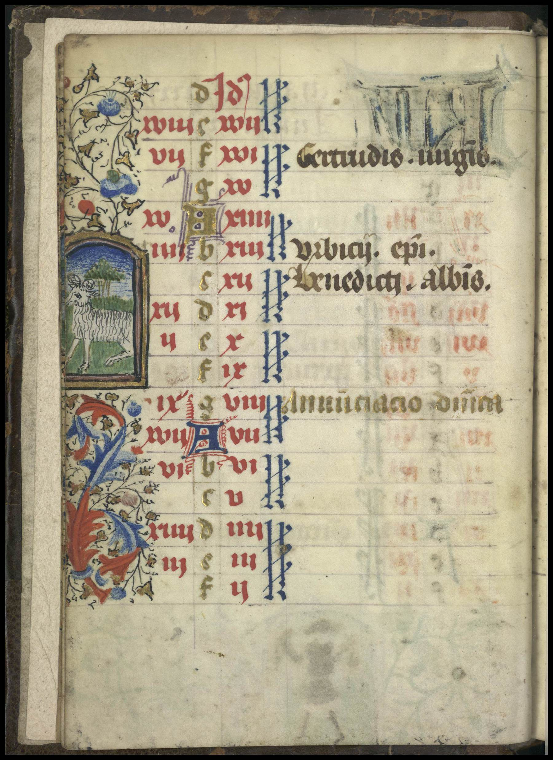 Contenu du Enluminure représentant le signe du zodiaque du Bélier