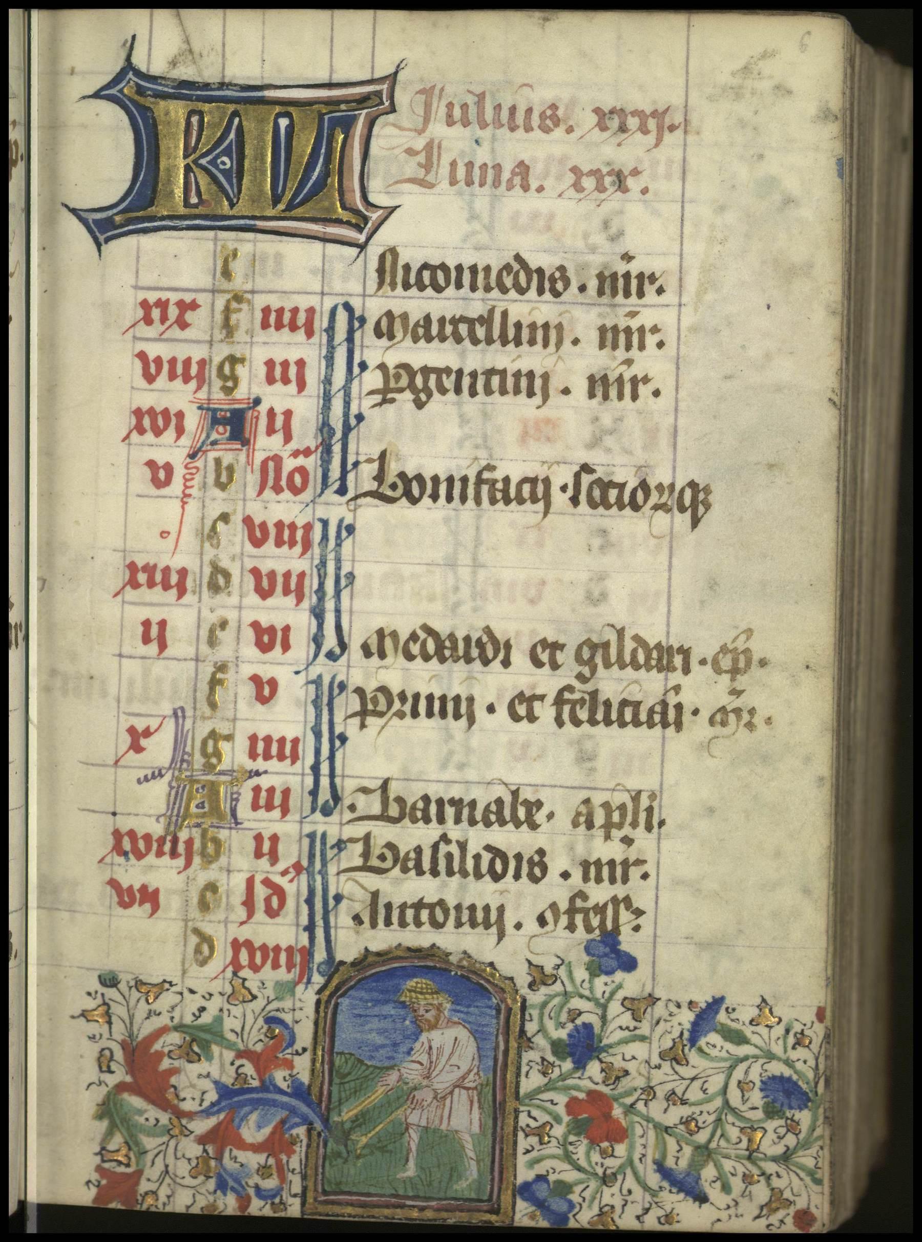 Contenu du Enluminure illustrant les travaux du mois de Juillet