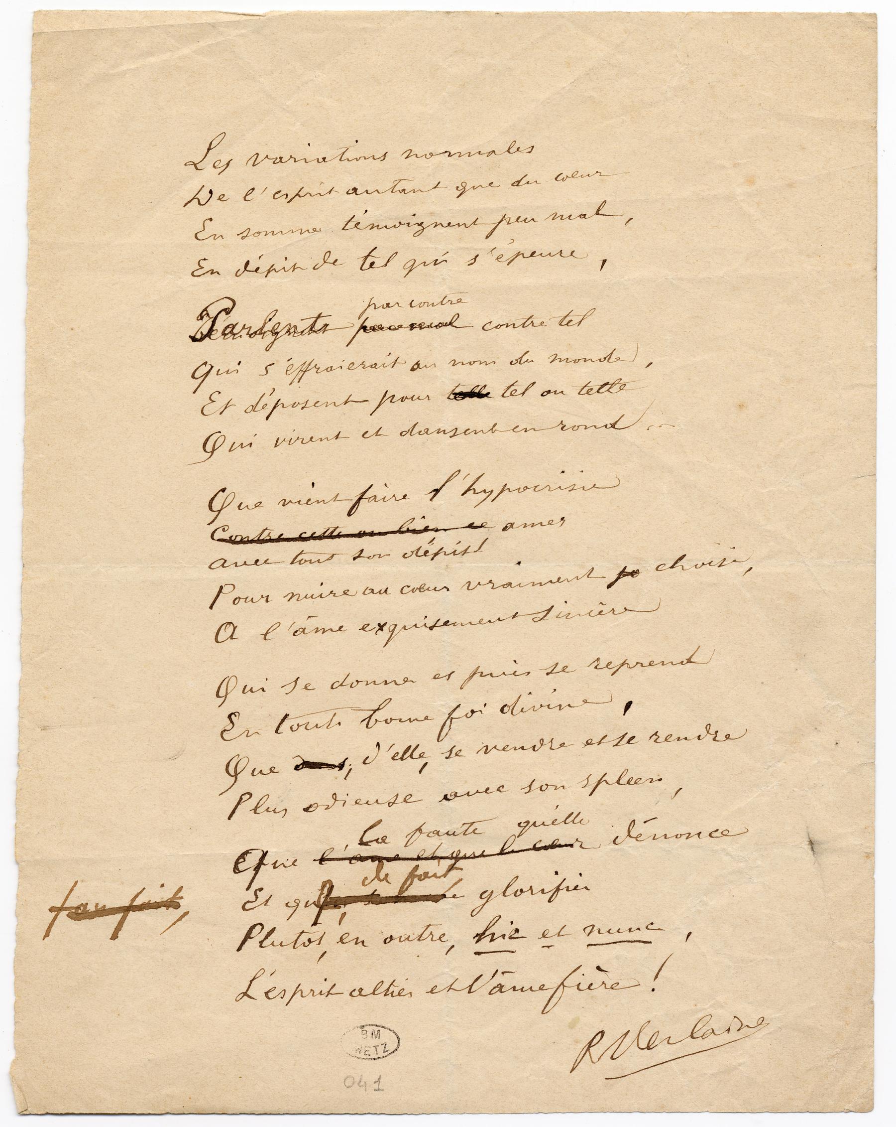 """Contenu du """"Les variations normales"""", poème autographe signé"""