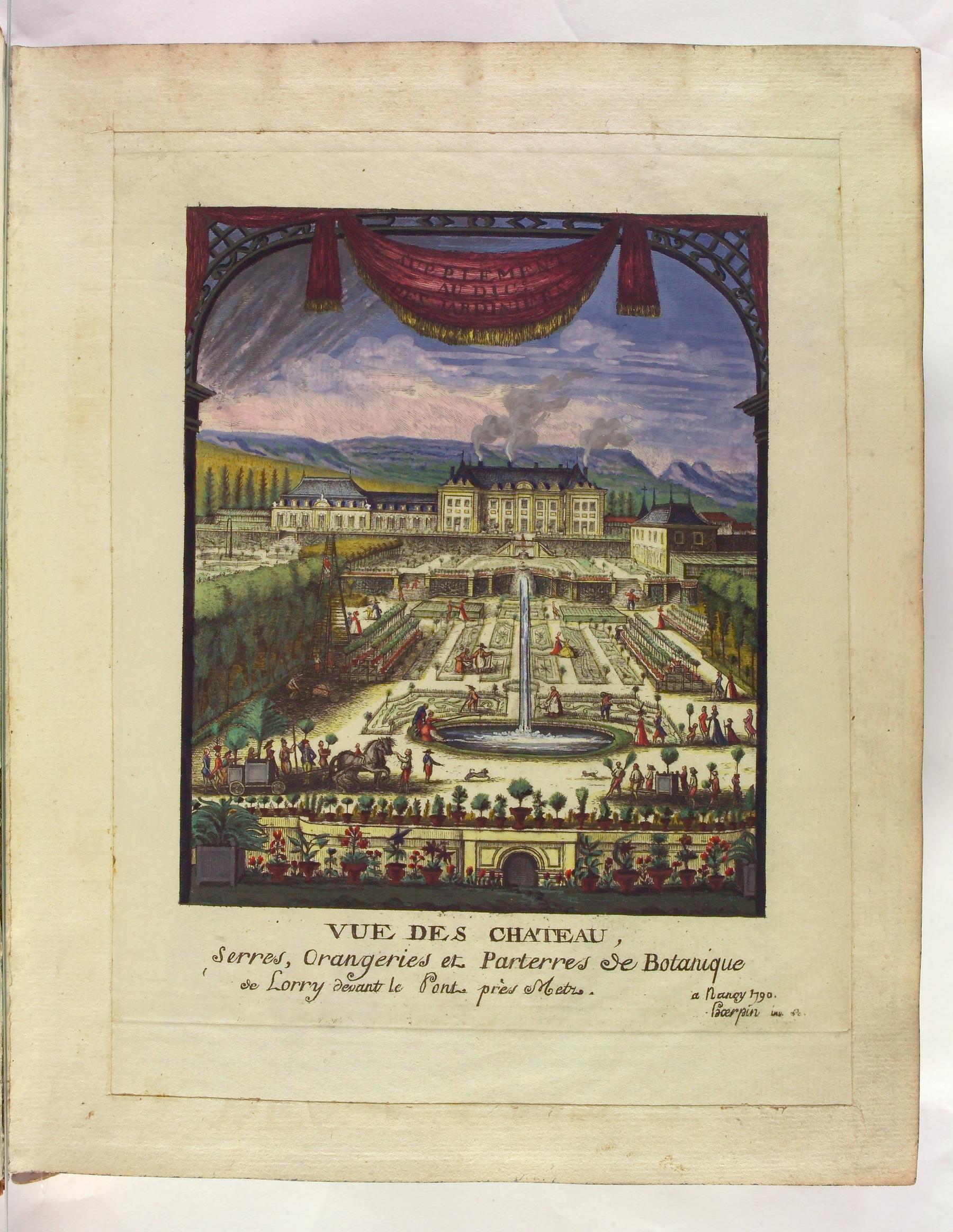 Contenu du Vue des château - Serres orangeries et parterres de botanique de Lorry devant les Pont près de Metz