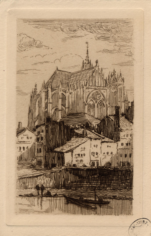 Contenu du La cathédrale Saint-Étienne vue depuis l'île du Petit Saulcy