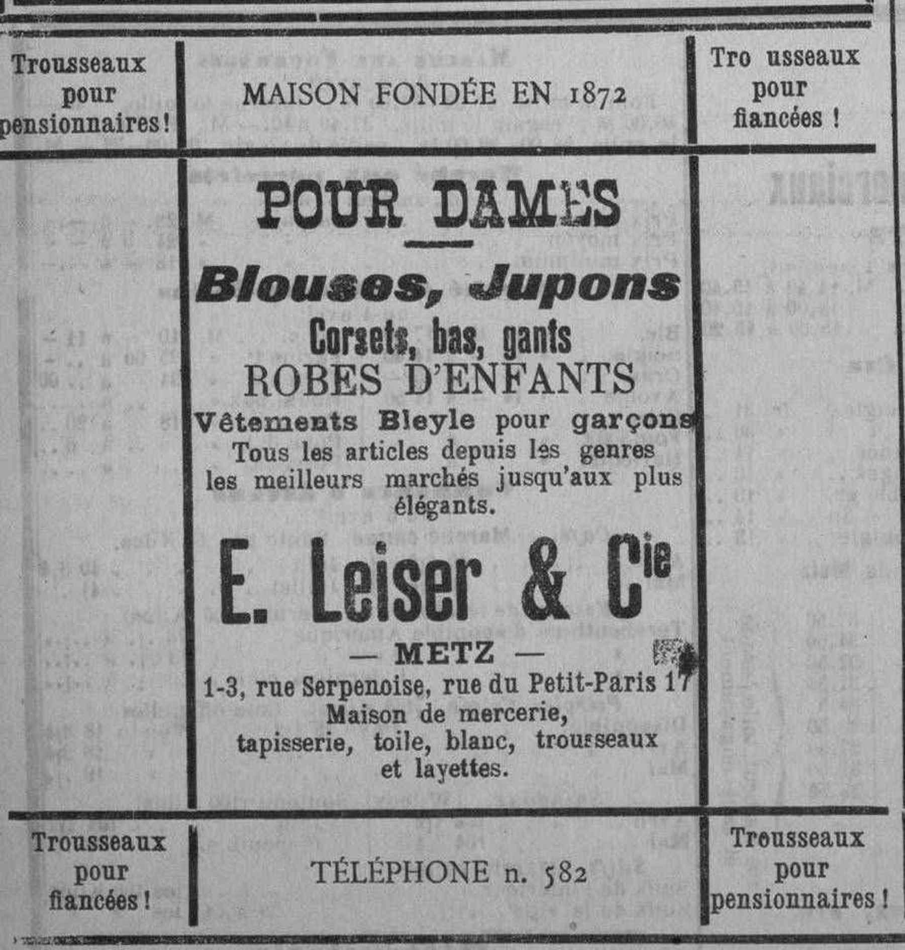 Contenu du E. Leiser & Cie. Vêtements pour dames et pour enfants