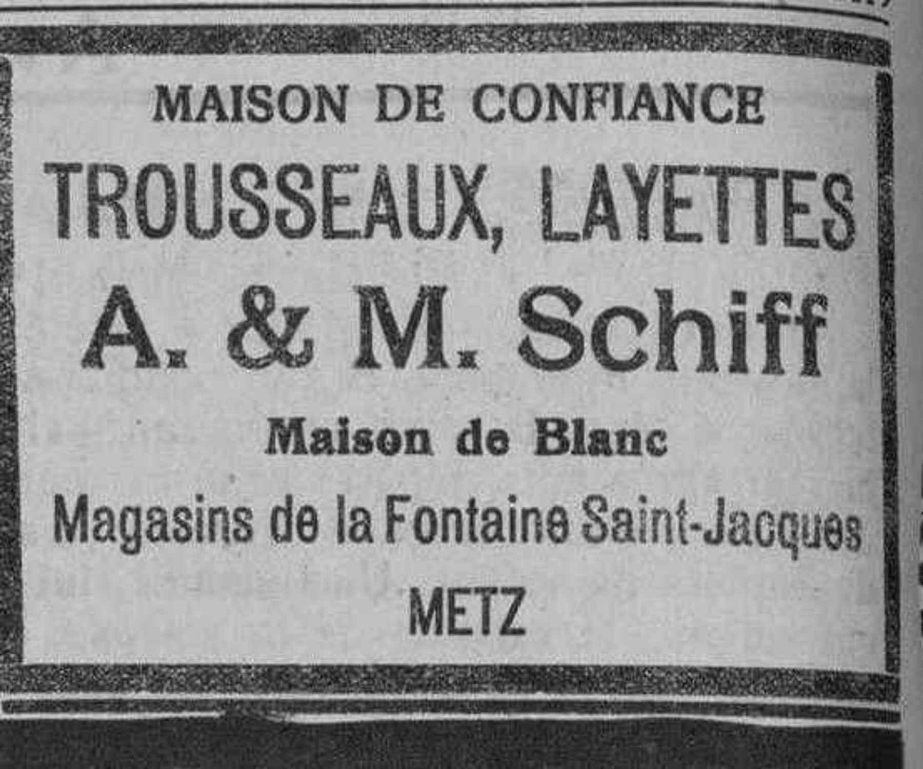 Contenu du A. & M. Schiff. Trousseaux et Layettes