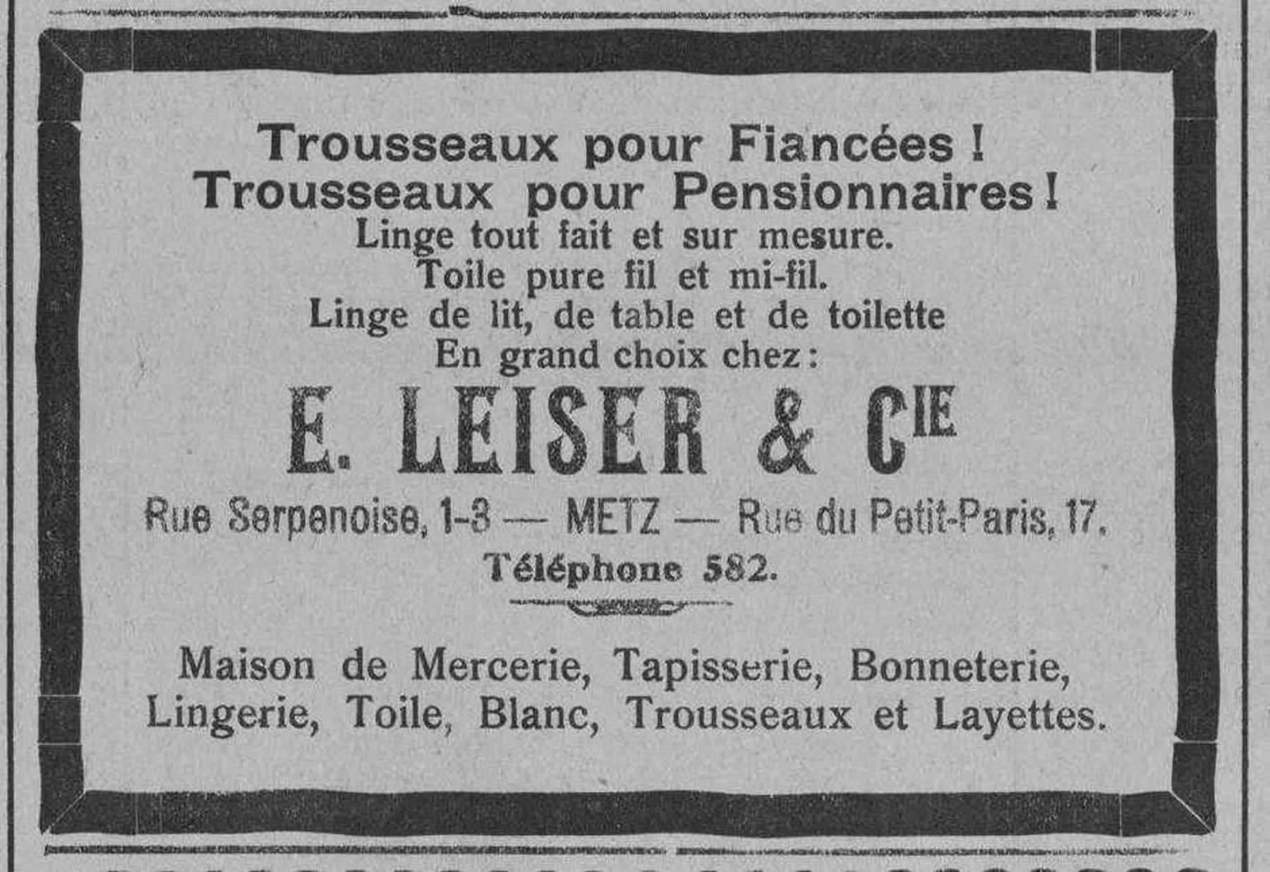 Contenu du E. Leiser & Cie. Trousseaux pour fiancées et pensionnaires