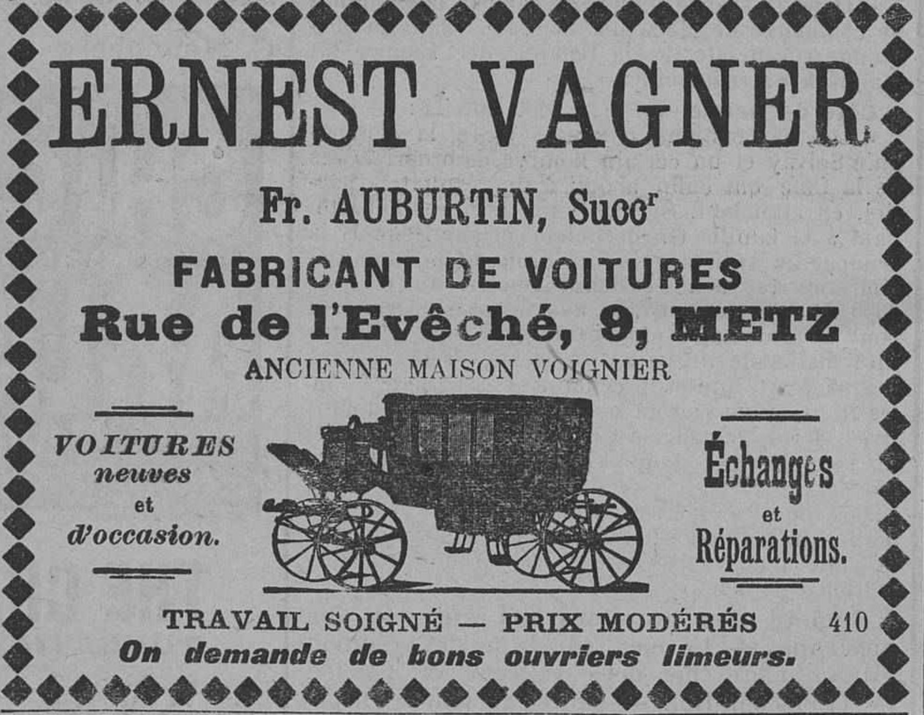 Contenu du Ernest Wagner, fabricant de voitures, voitures neuves et d'occasion