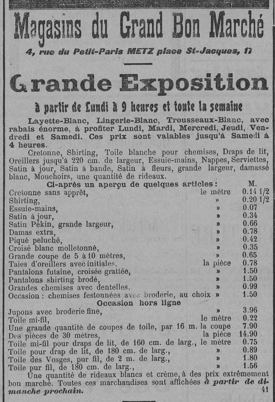 Contenu du Magasins du Grand Bon Marché. Grande exposition de vêtements