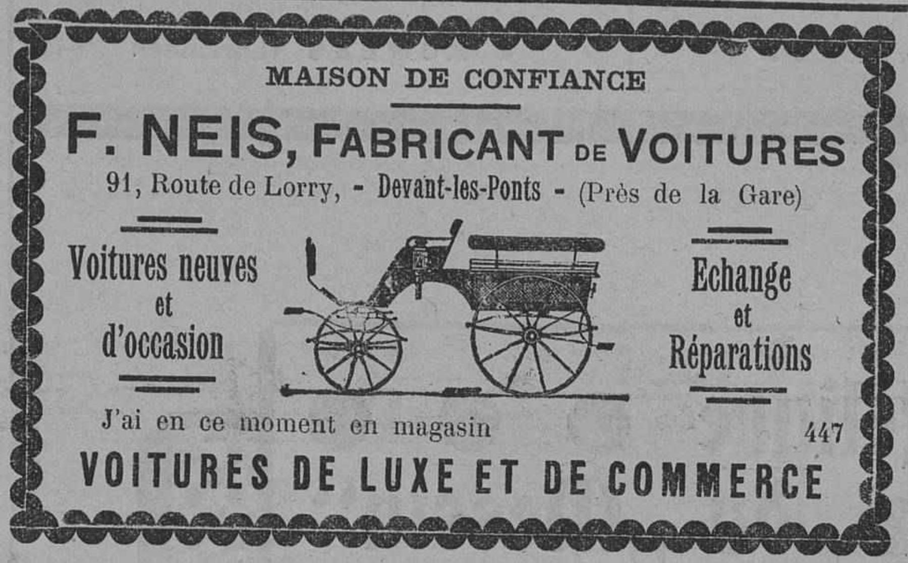 Contenu du F. Neis, fabricant de voitures, voitures neuves et d'occasion
