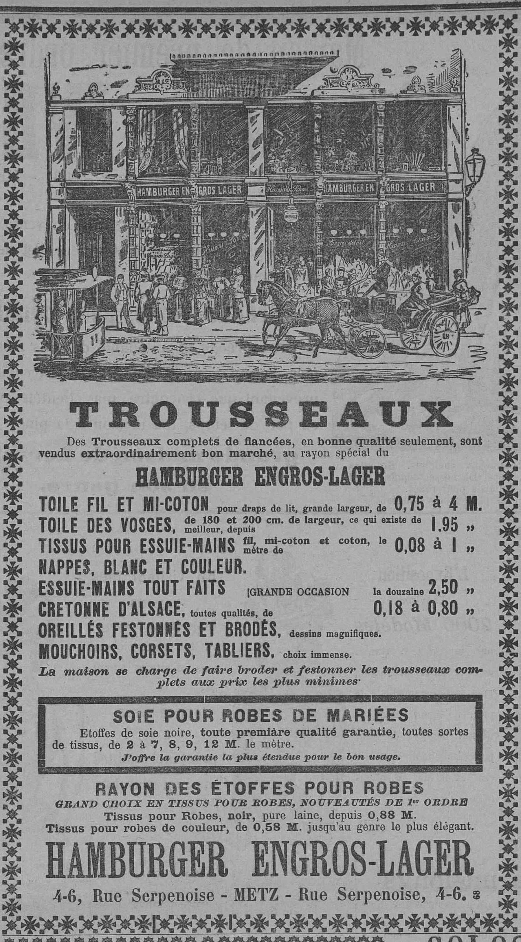 Contenu du Hamburger Engros-Lager.Trousseaux