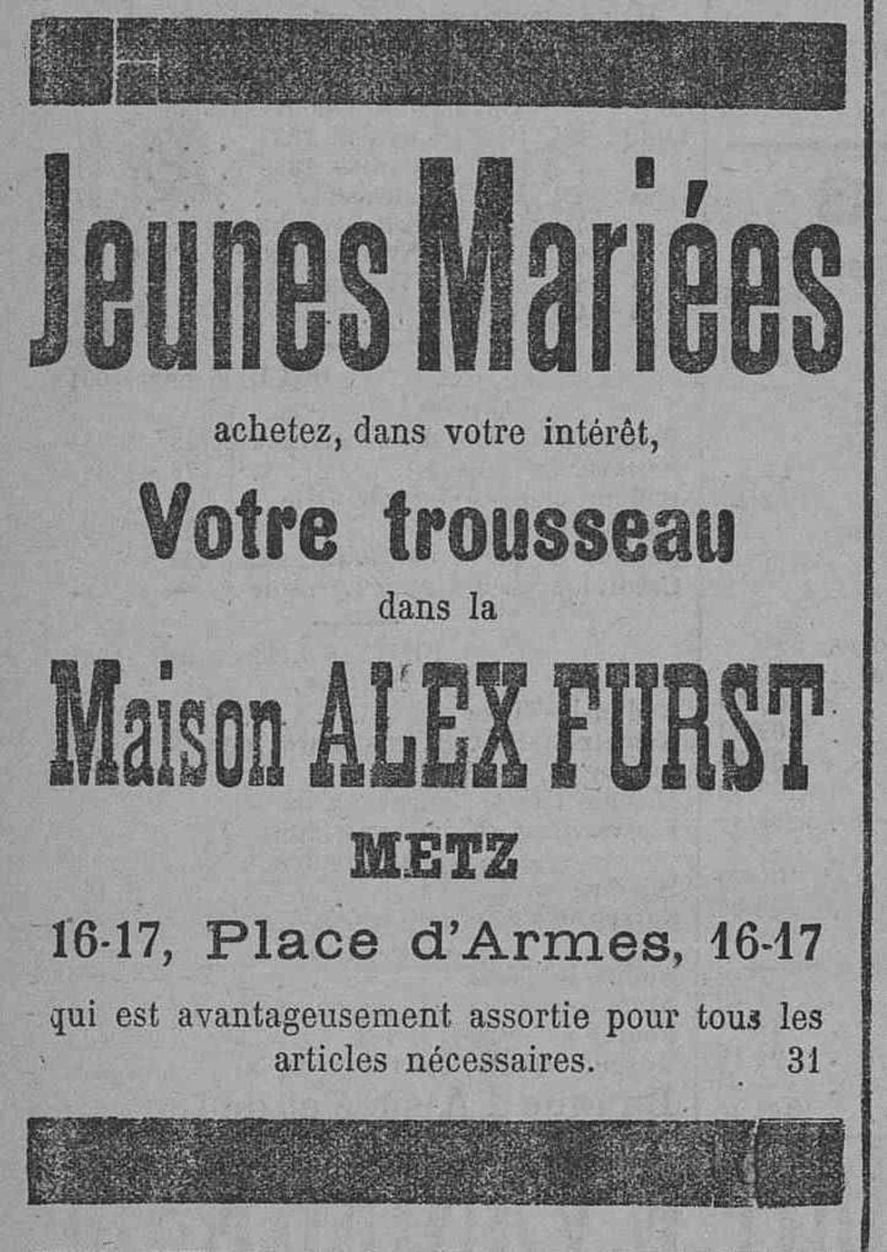 Contenu du Maison Alex Furst. Trousseau pour jeunes mariées