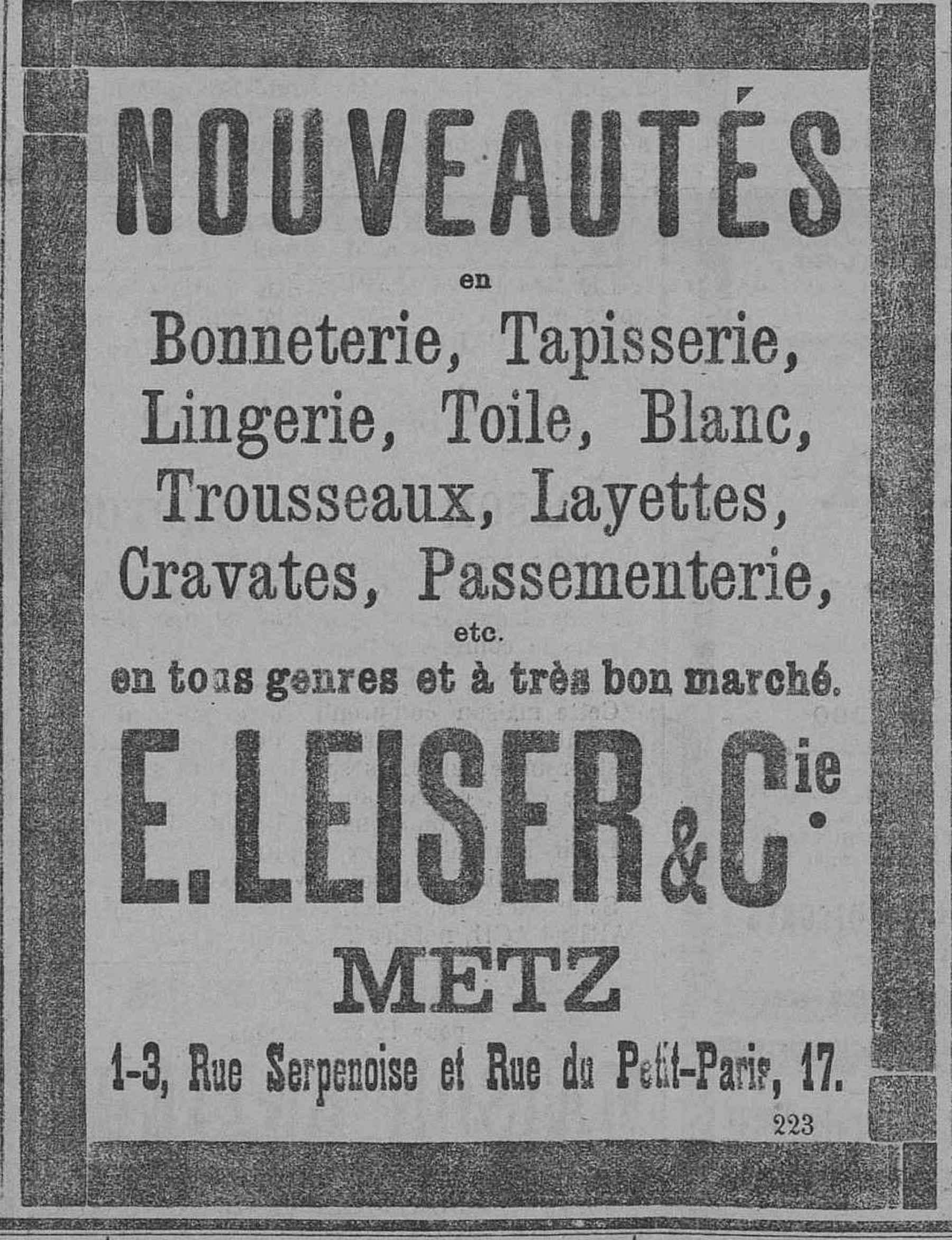 Contenu du E. Leiser & Cie. Nouveautés en Bonneteries, Tapisseries, Lingeries, Toile, Blanc...