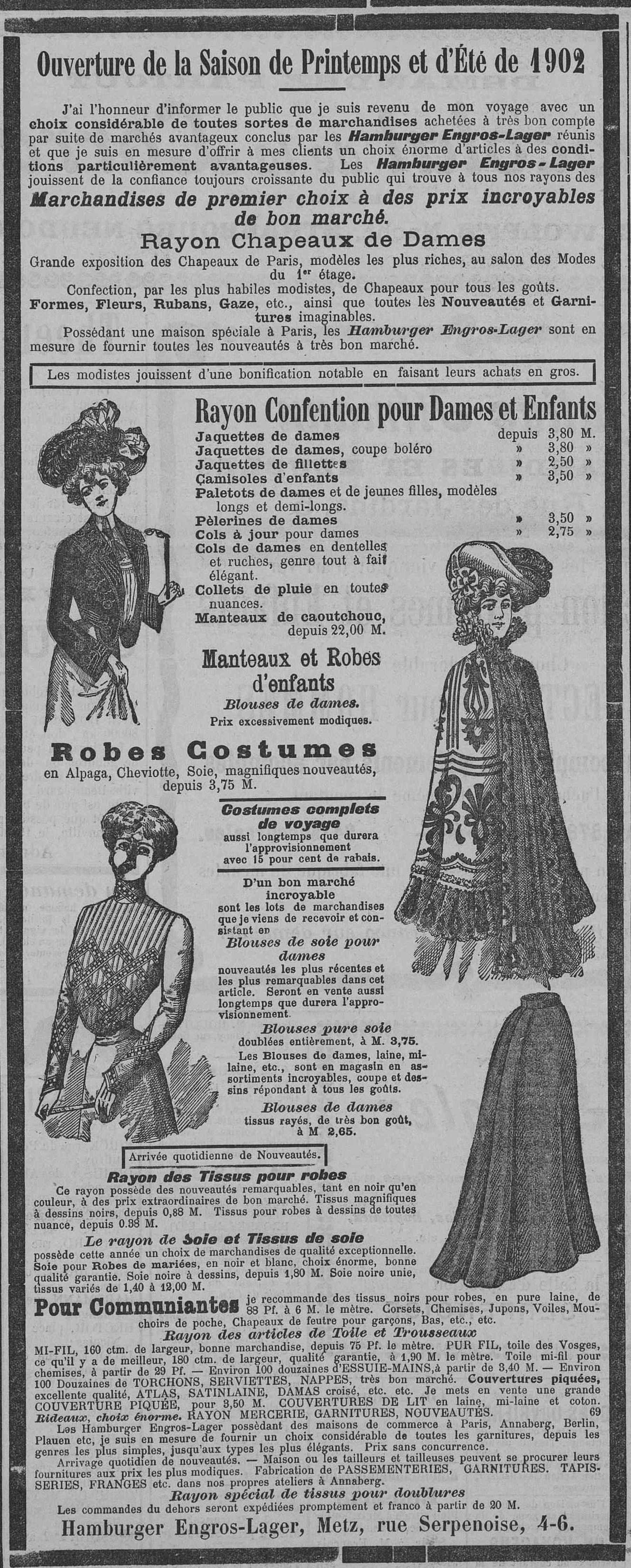 Contenu du Hamburger Engros-Lager. Ouverture de la saison de Printemps et d'Éte 1902