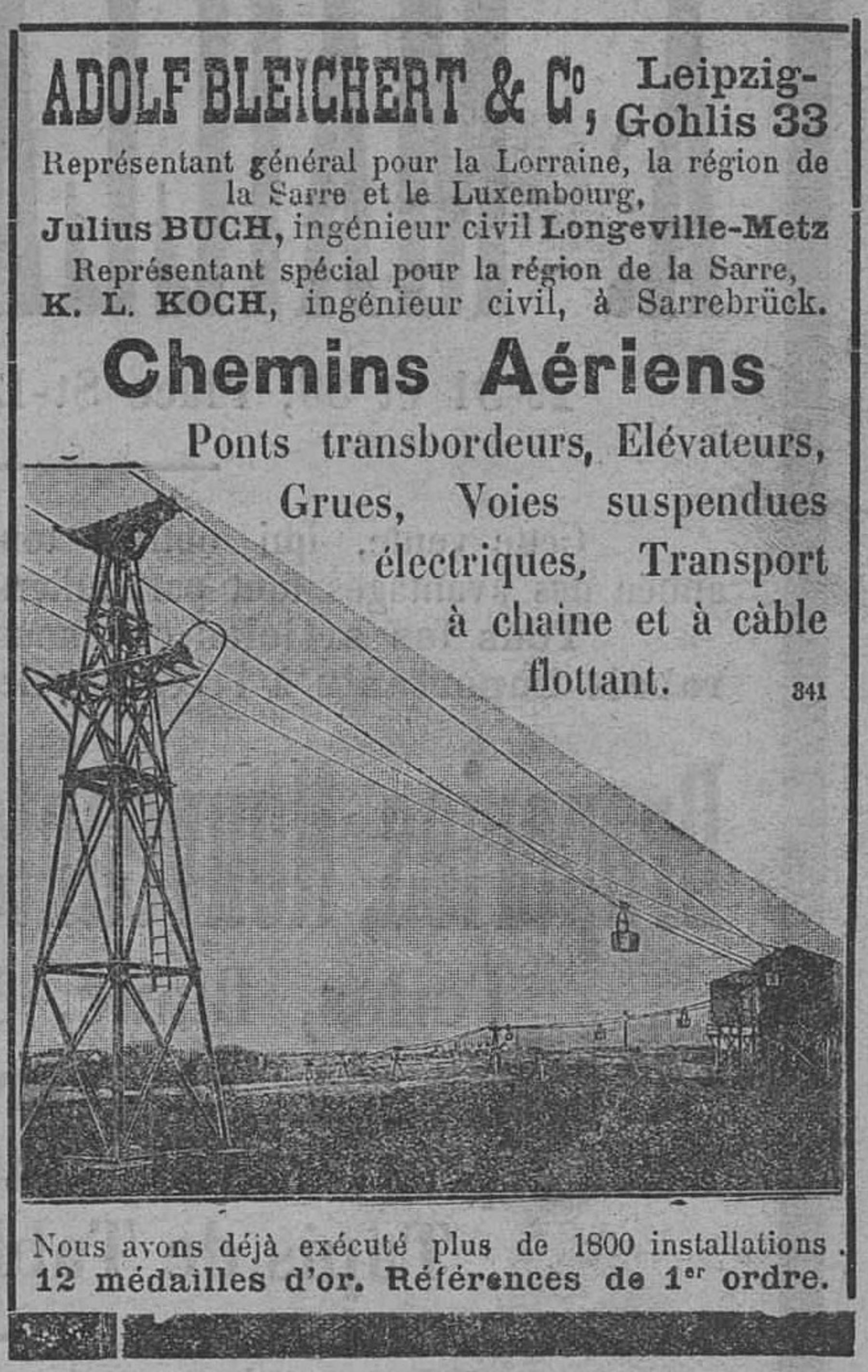 Contenu du Chemins aériens, pont transbordeurs, élévateurs, grues, voies suspendues électriques, transport à chaine et à câble flottant