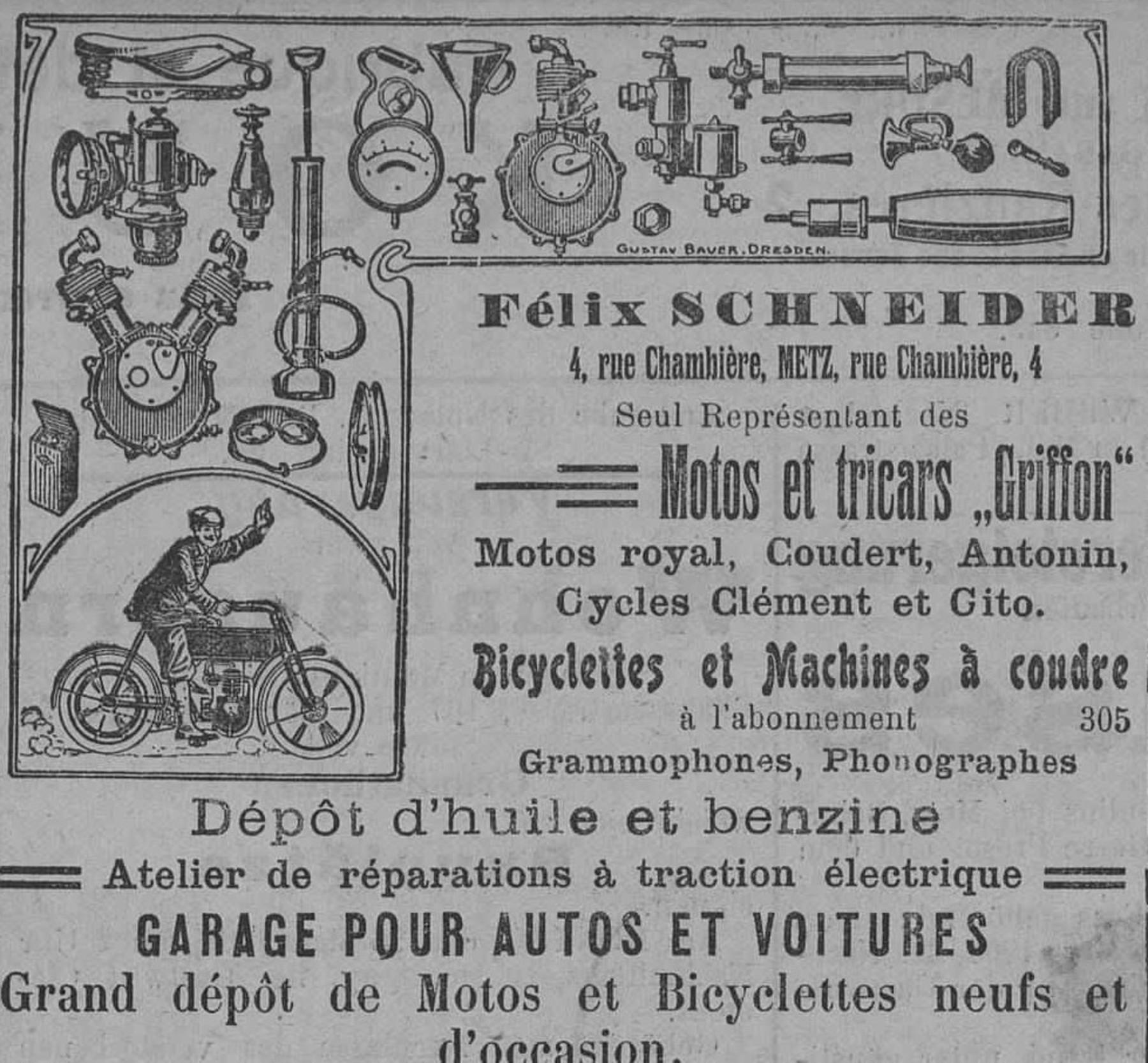 Contenu du Félix Schneider, seul représentant des motos et tricars Griffon, garage pour autos et voitures