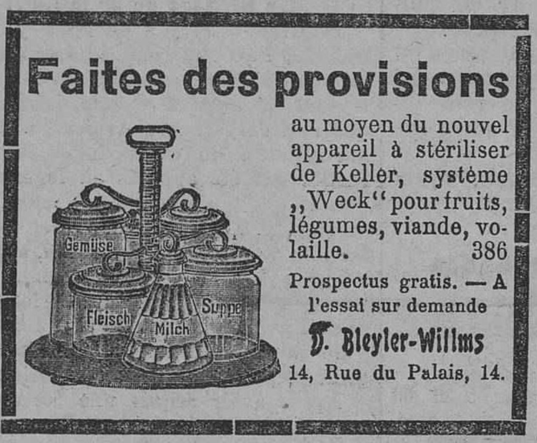 Contenu du Nouvel appareil à stériliser de Keller, système «Weck» pour fruits, légumes, viande, volaille