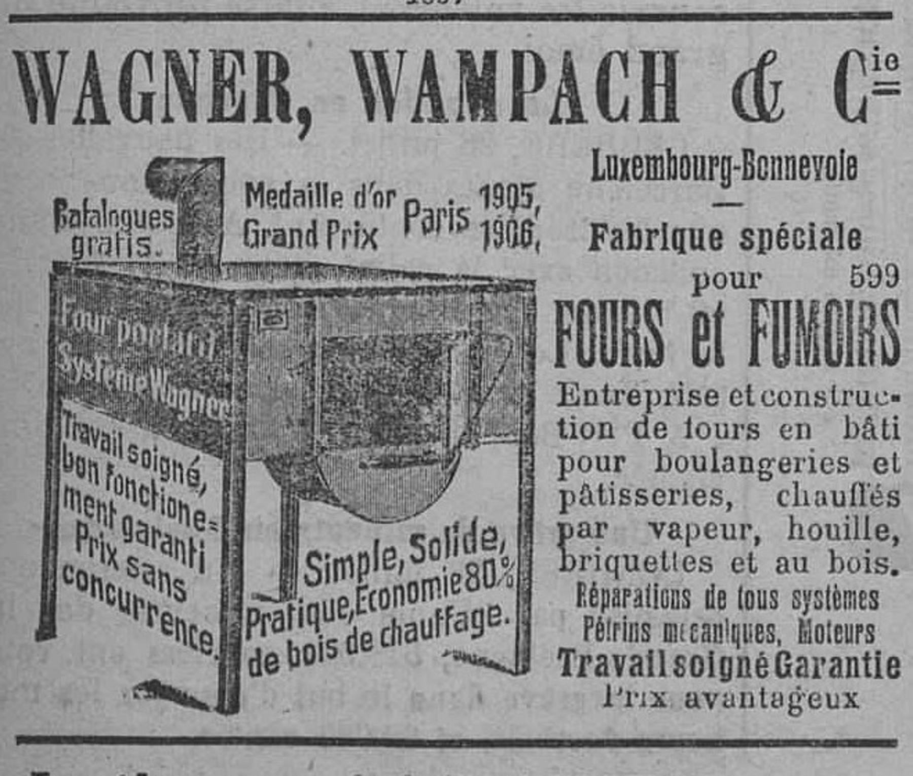 Contenu du Wagner, Wampach & cie, fabrique spéciale pour fours et fumoirs