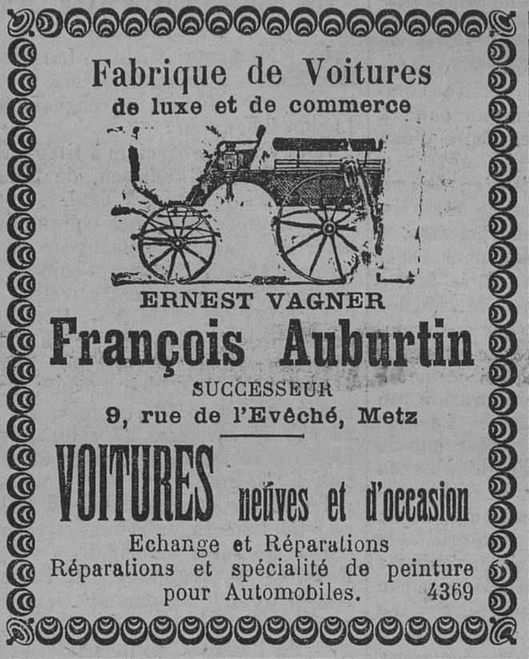 Contenu du Fabrique de voitures de luxe et de commerce, François Auburtin