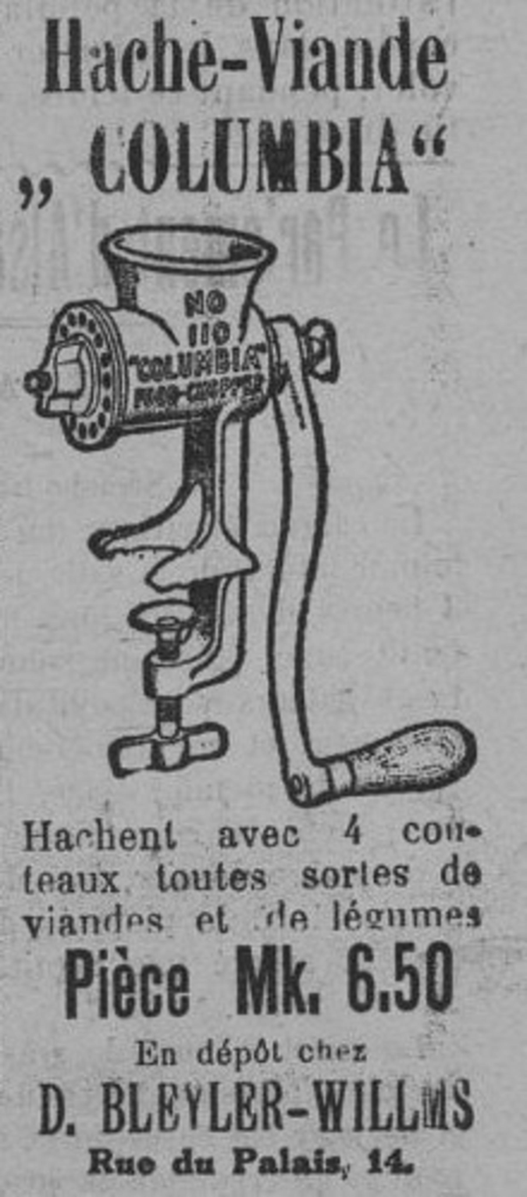 Contenu du Hache-Viande «Columbia»