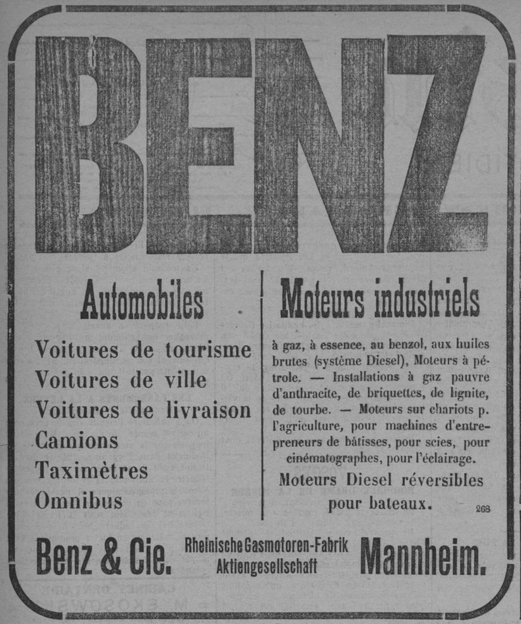 Contenu du Benz, Automobiles, moteurs industriels