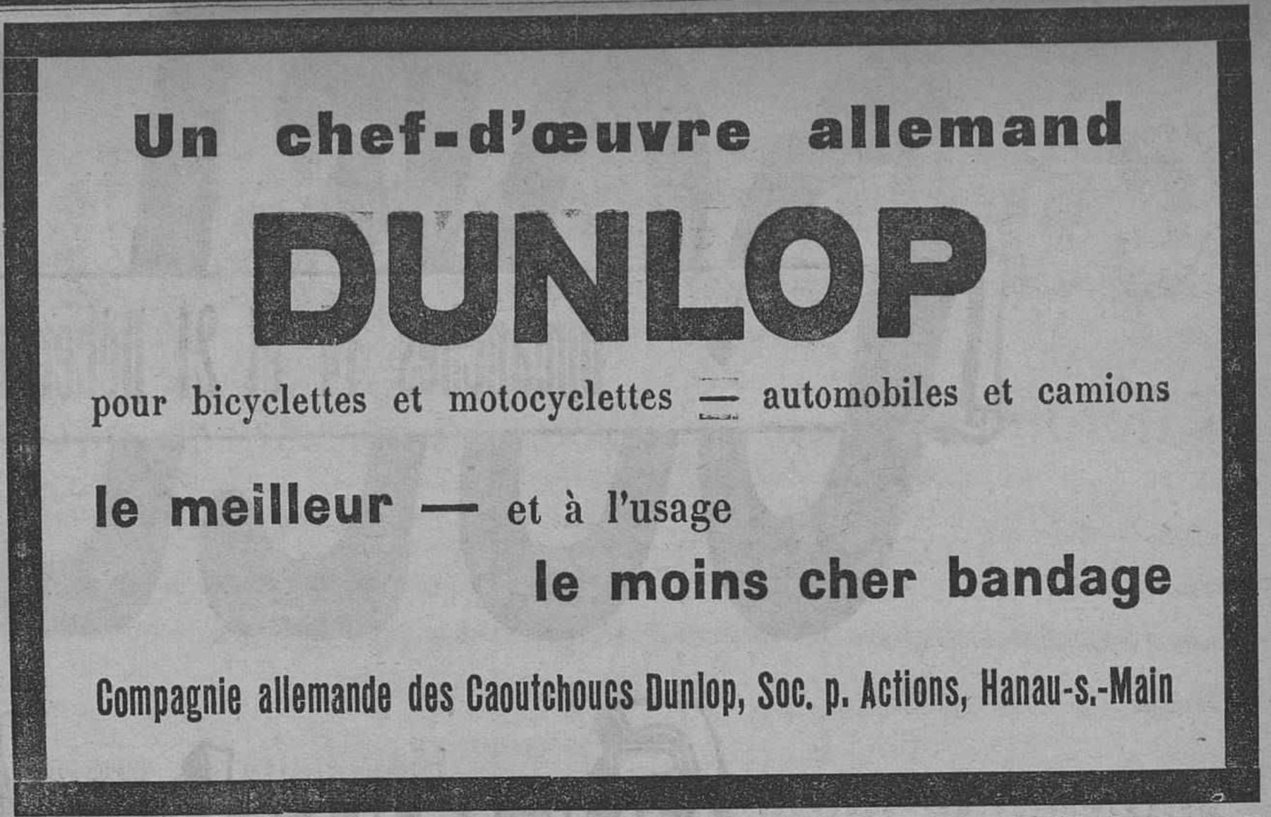 Contenu du Dunlop pour bicyclettes et motocyclettes – automobiles et camions