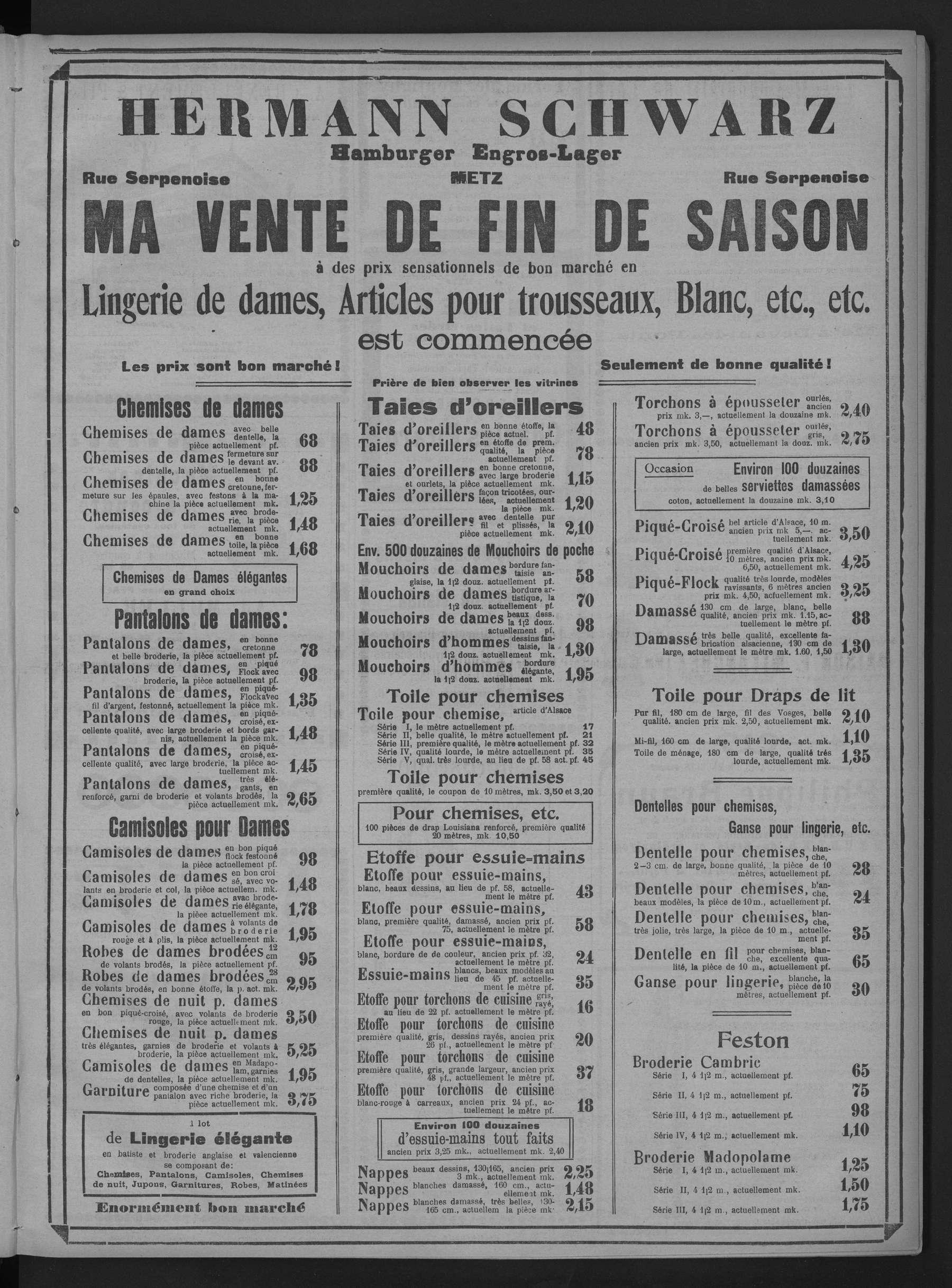 Contenu du Hermann Schwarz. Hamburger Engros-Leger. Vente de fin de saison. Lingerie de dames, articles pour trousseaux...