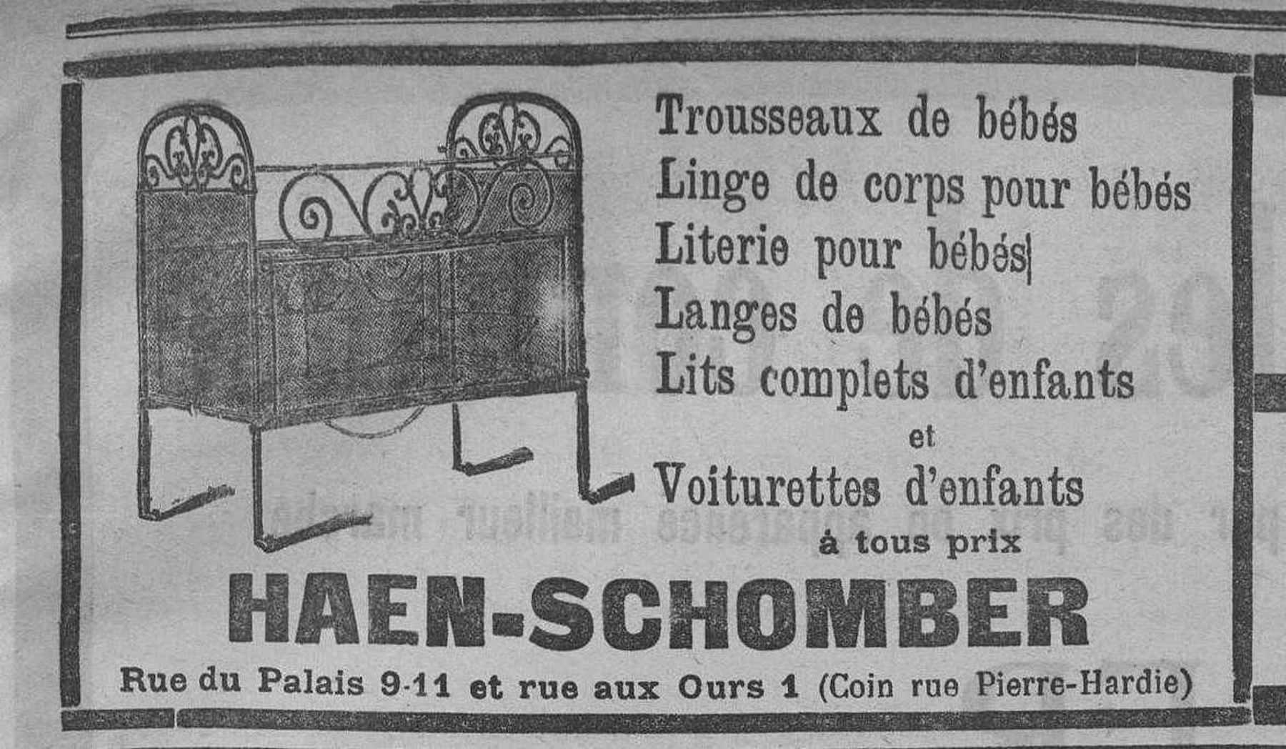 Contenu du Haen-Schomber. Trousseaux, linge, literie, langes, lits et voiturettes pour les bébés