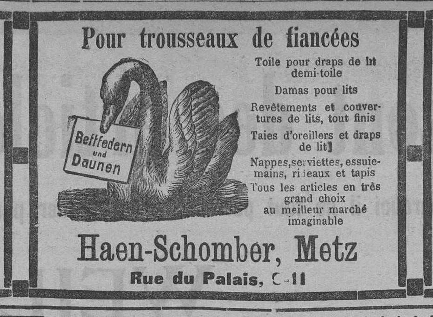 Contenu du Haen-Schomber. Trousseaux de fiancées