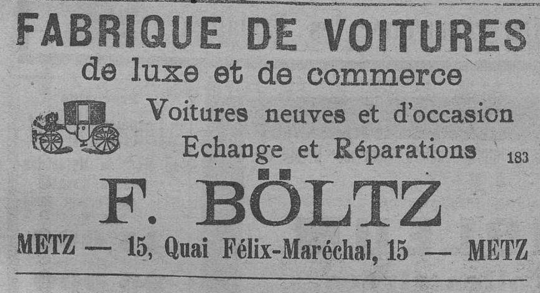 Contenu du Fabrique de voitures de luxe et de commerce, F. Böltz