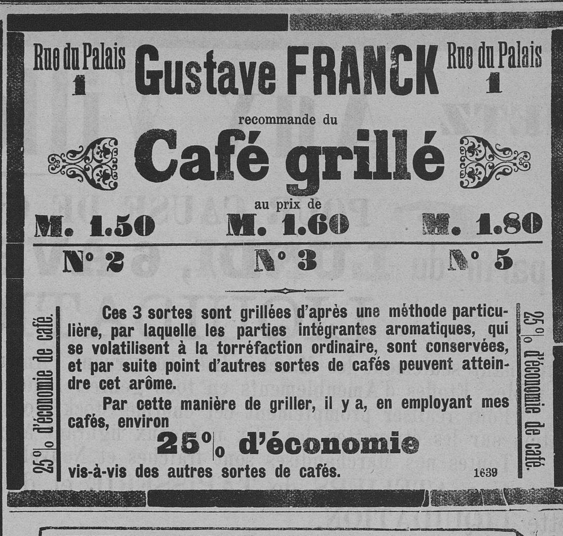 Contenu du Gustave Franck recommande du Café grillé