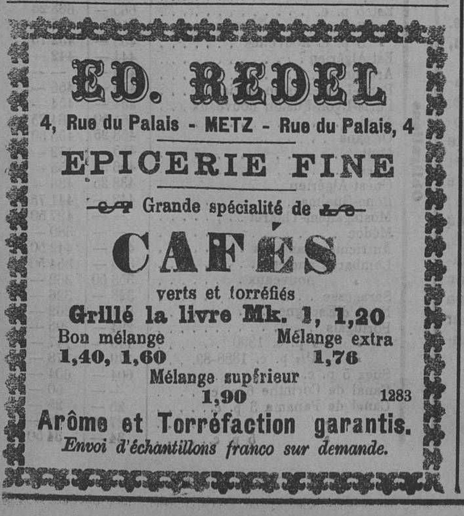 Contenu du Ed. Redel - Epicerie fine - grande spécialité de cafés